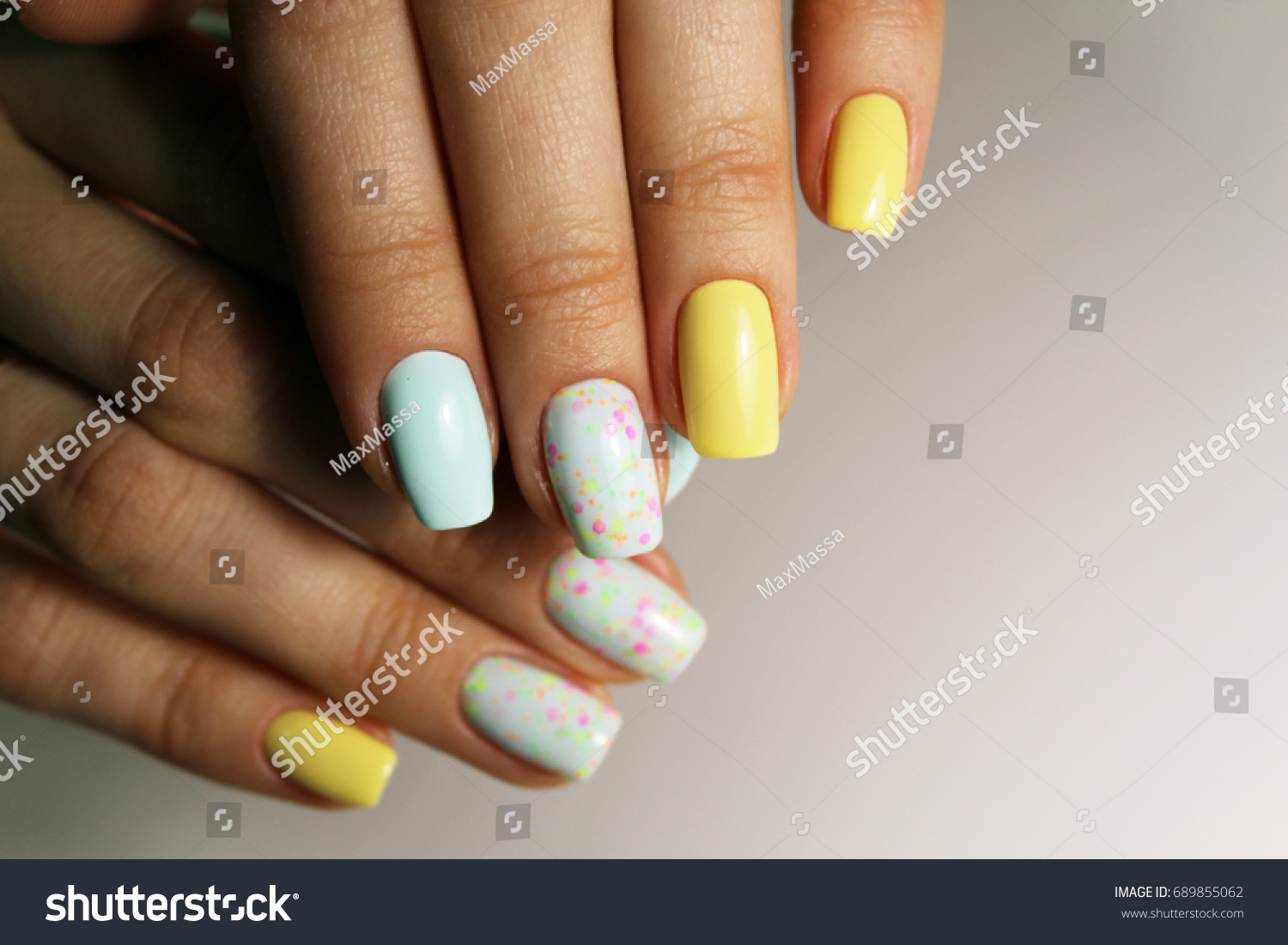 Nail Design Different Color Stock Photo Edit Now 689855062