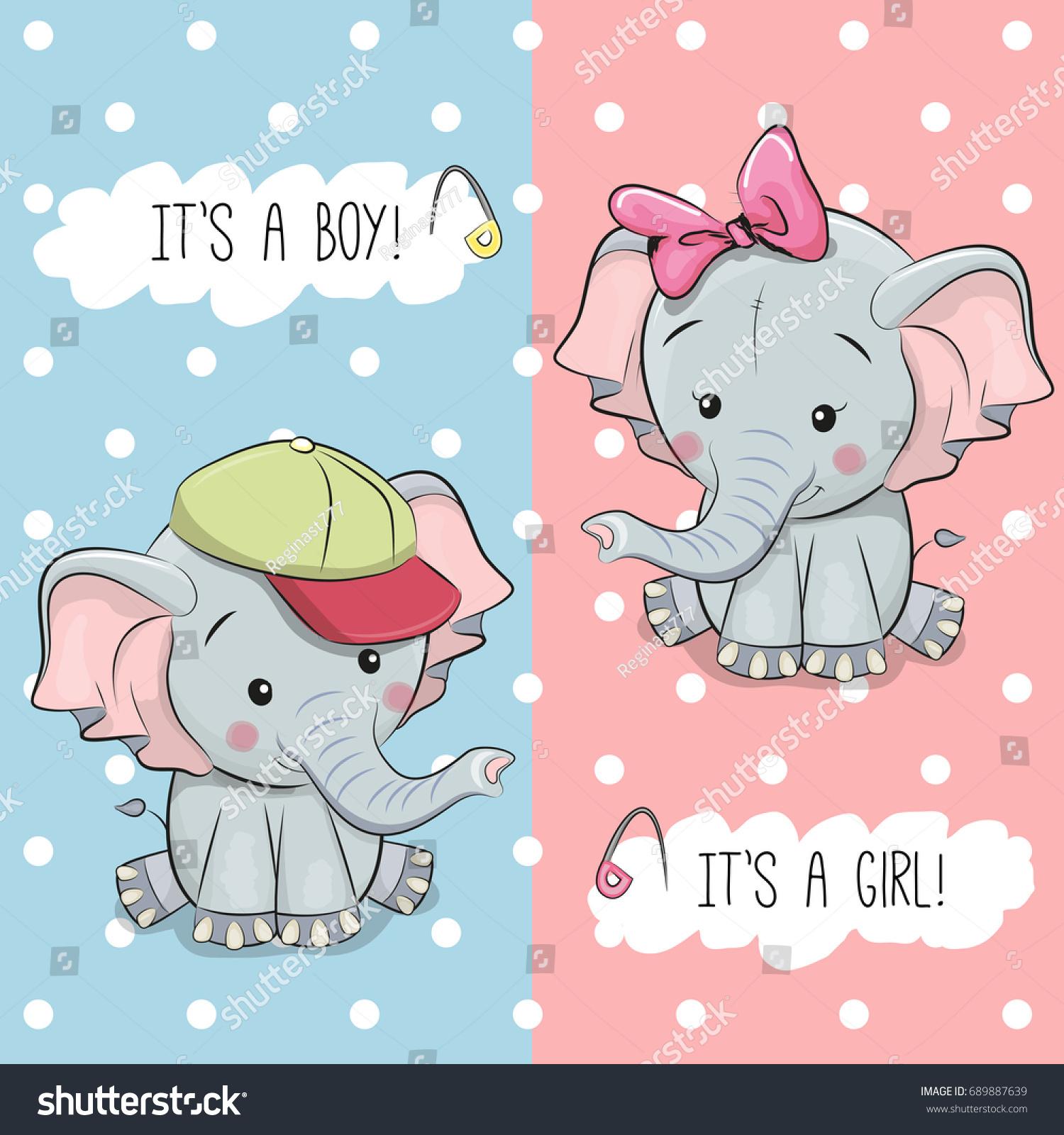 Baby Shower Greeting Card Elephants Boy Stock Vector Royalty Free
