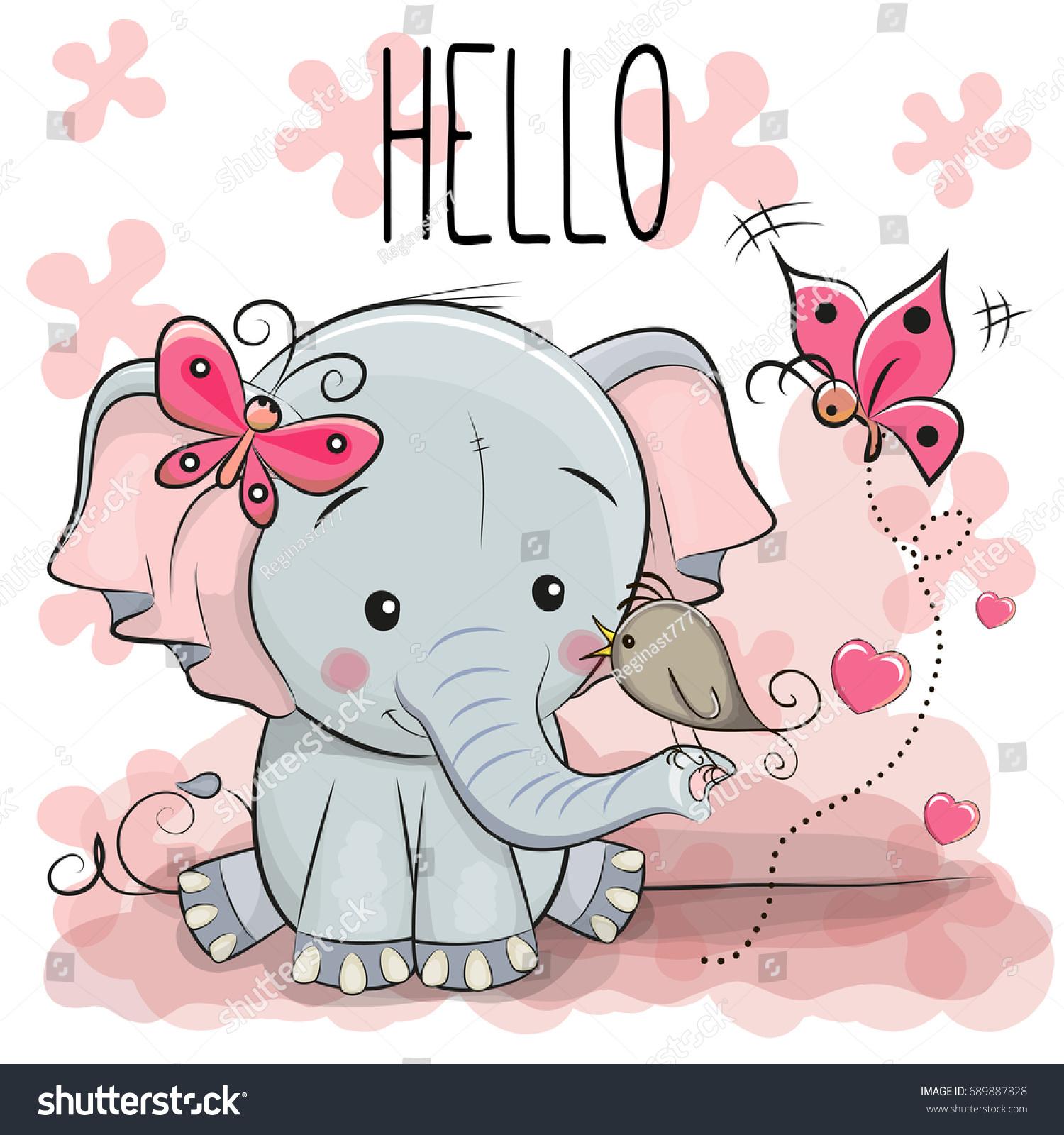 greeting card cute cartoon elephant bird stock vector 689887828