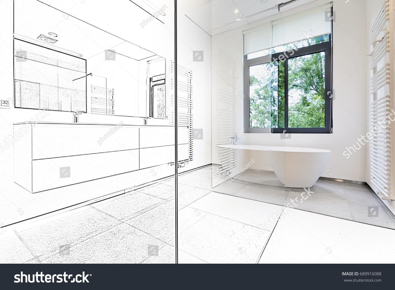 Dessin Salle De Bain photo de stock de dessin mixte d'une baignoire en corian