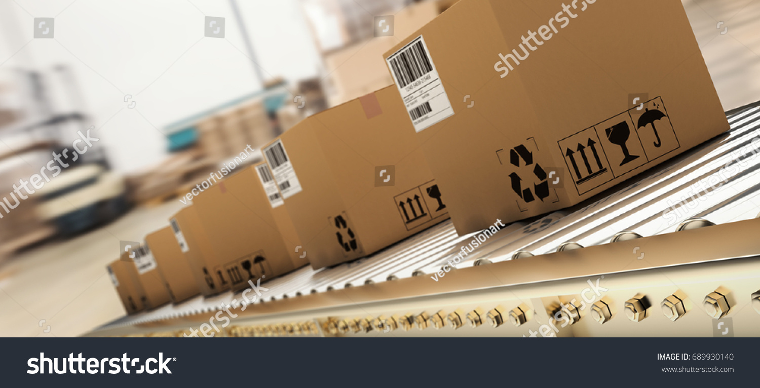 Packed courier on production line against  cardboard boxes in warehouse #689930140