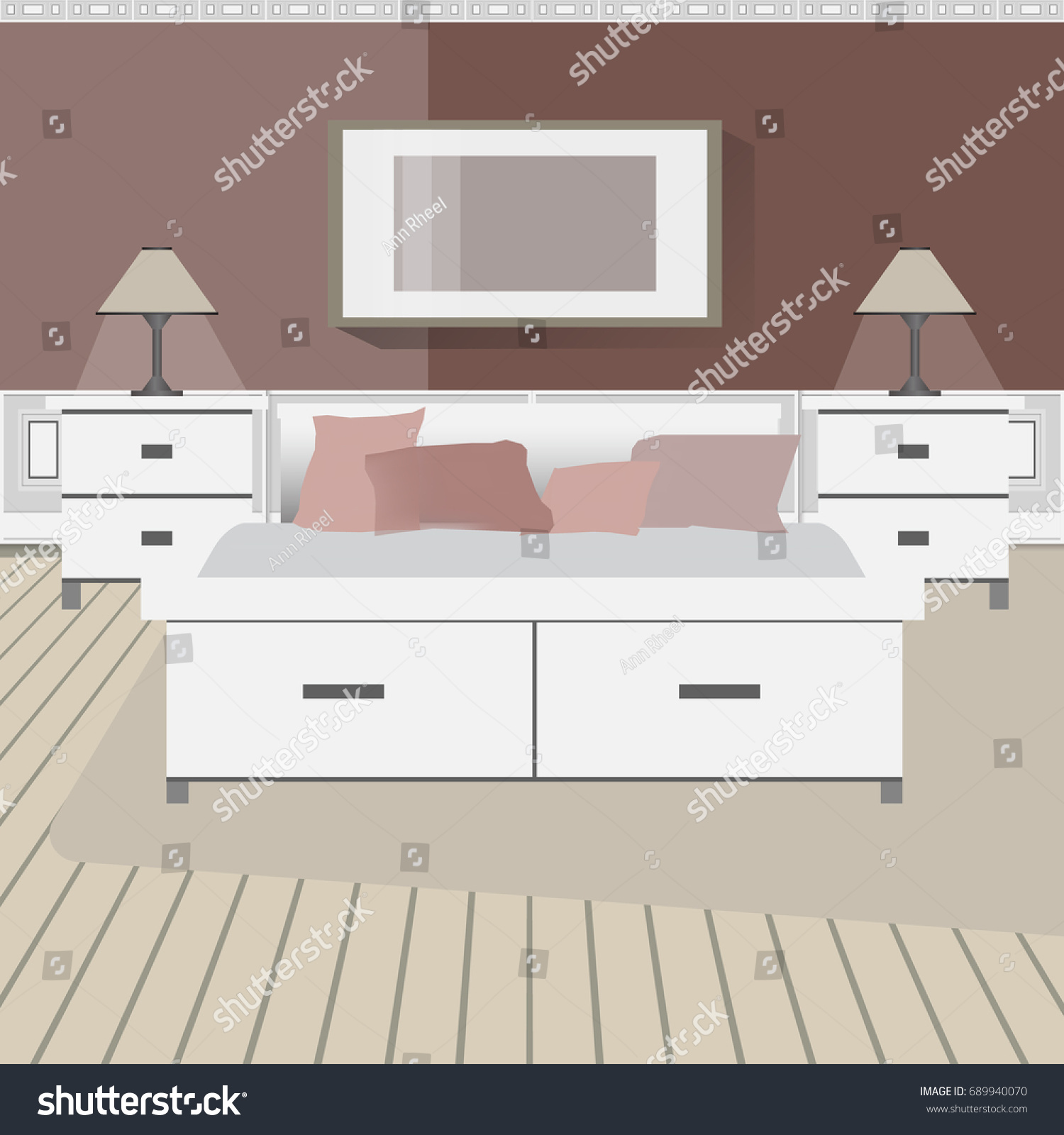 Design Modern Workplace Bedroom Other Objects Stock Vector 689940070 ...