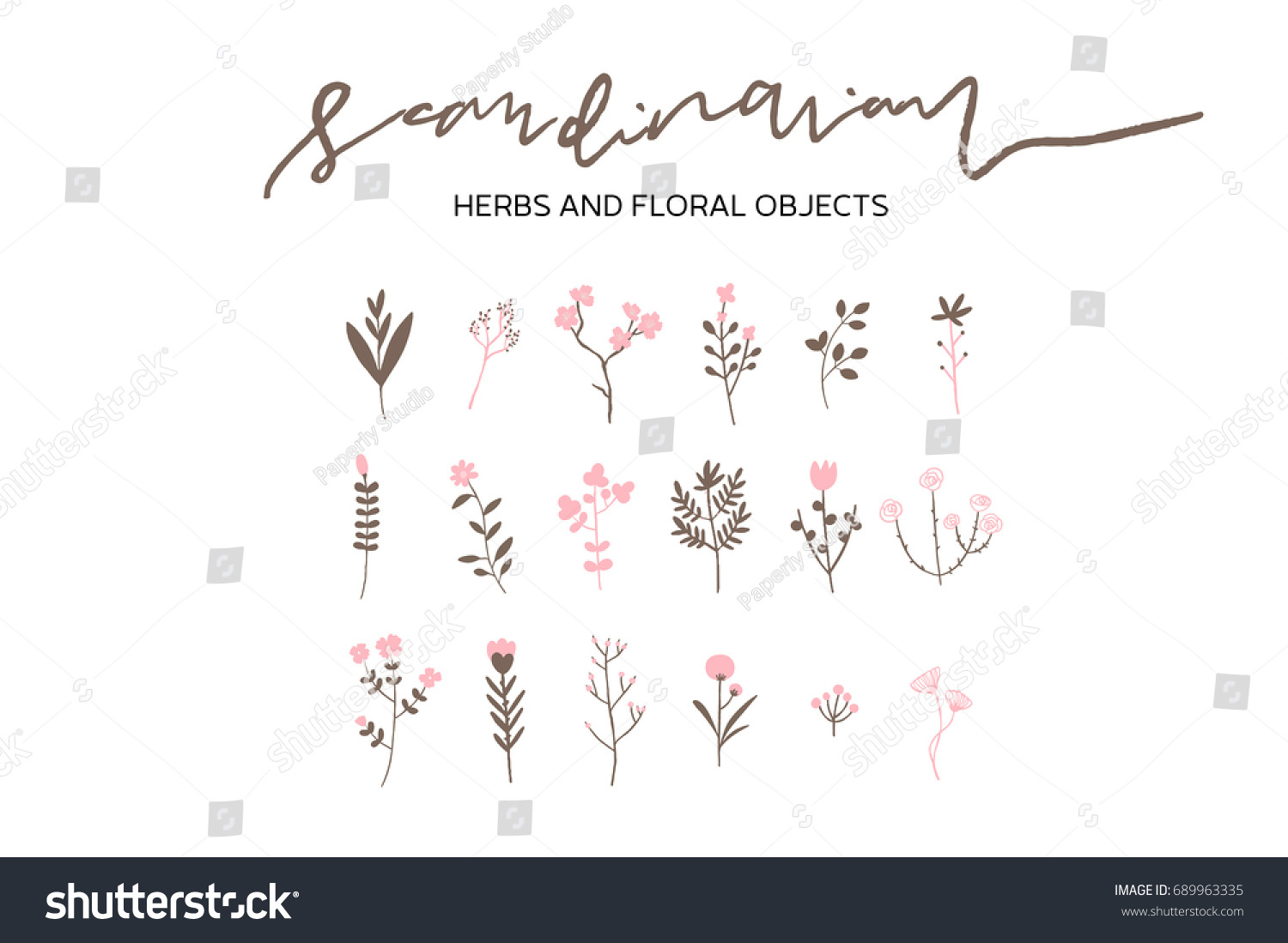 Vector Scandinavian Herbs And Flowers Set Simple Hand Drawn Nature Objects Wedding Anniversary Cards