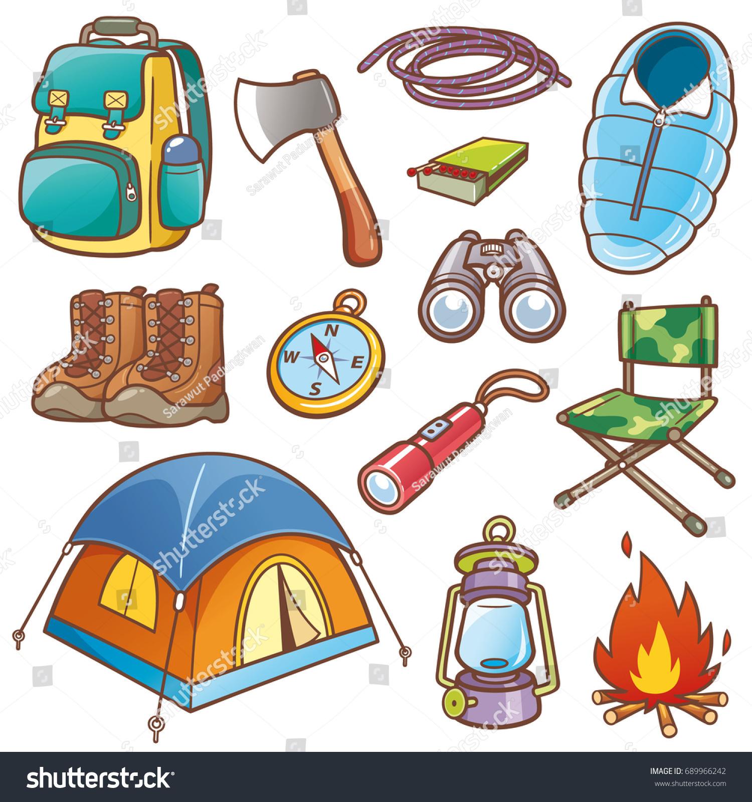 Vector Illustration Of Cartoon Camping Equipment Set