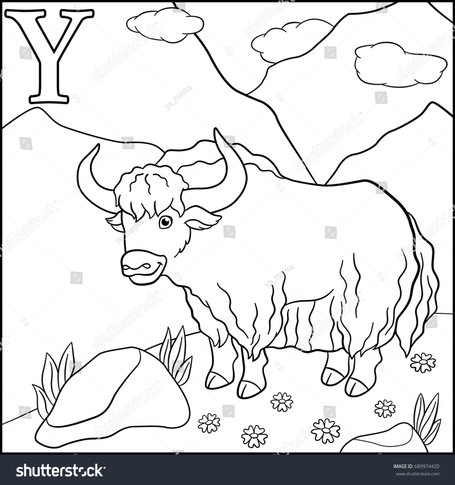 Coloring Page Cartoon Animals Alphabet Y Is For Yak