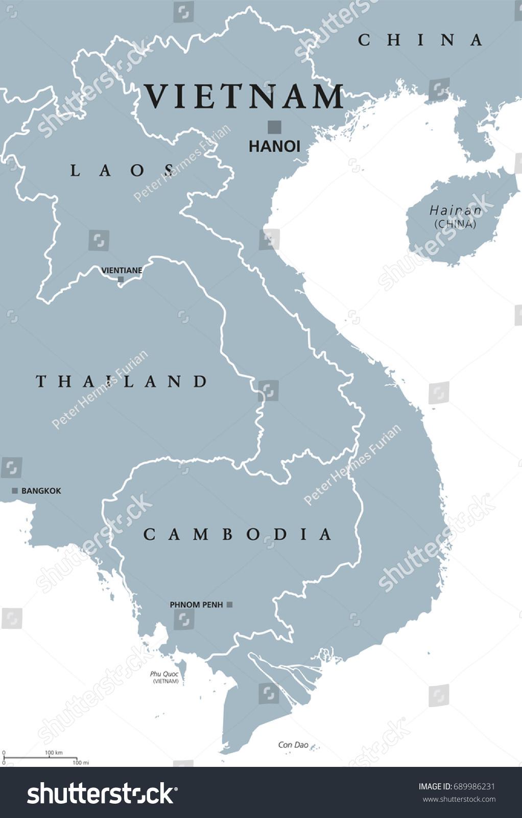 Vietnam Political Map Capital Hanoi Borders Stock Vector - China political map in english