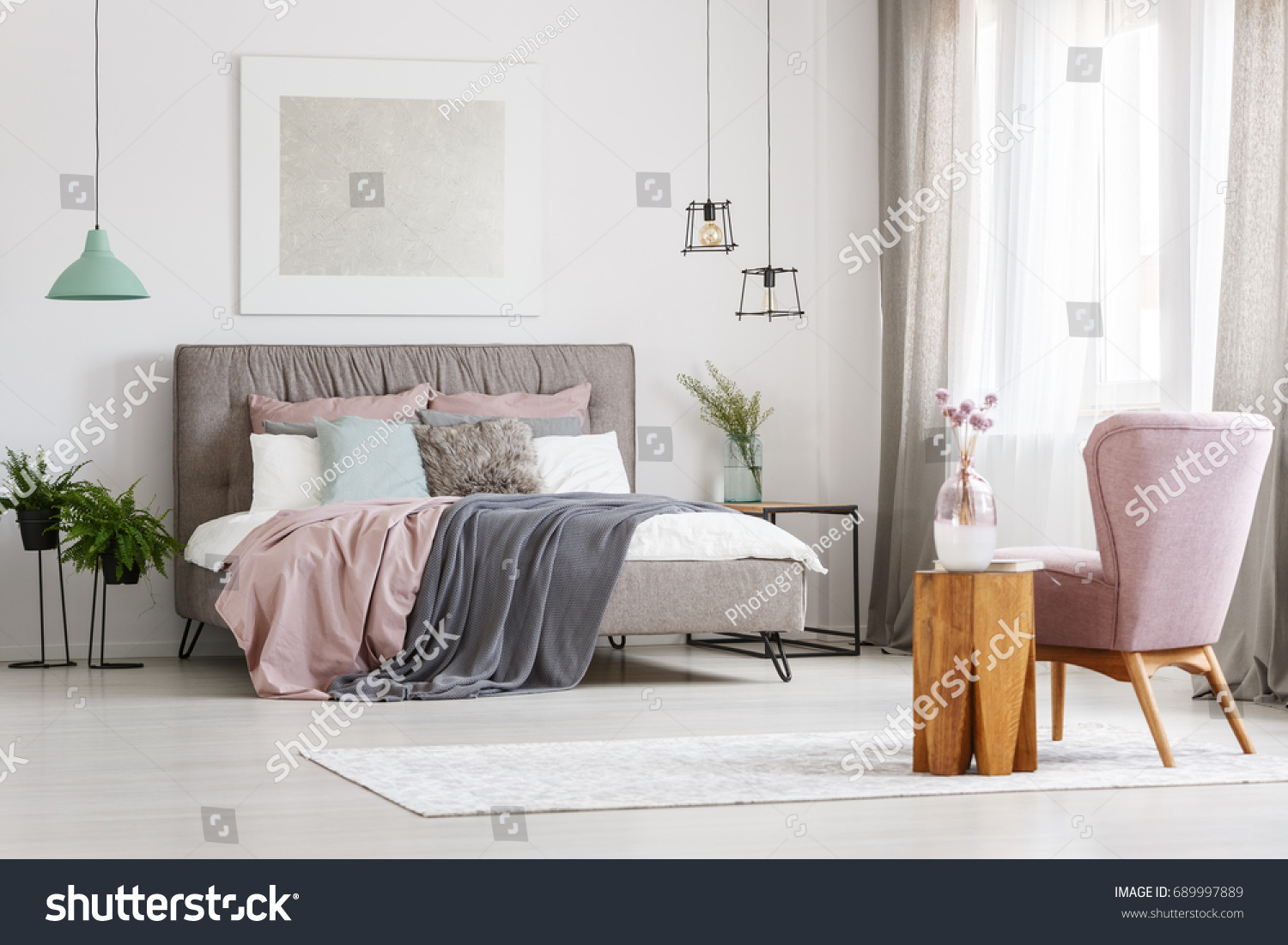 Modern Poster Hanging Above Big Messy Stock Photo (Royalty Free ...