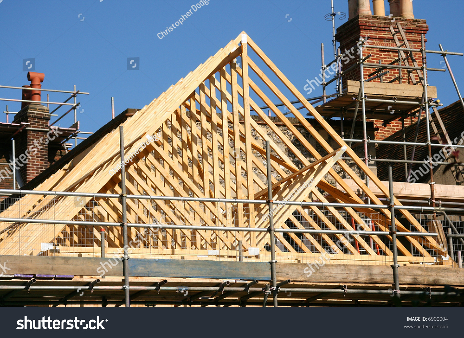 Gable Roof Timber Frame Under Construction Stock Photo