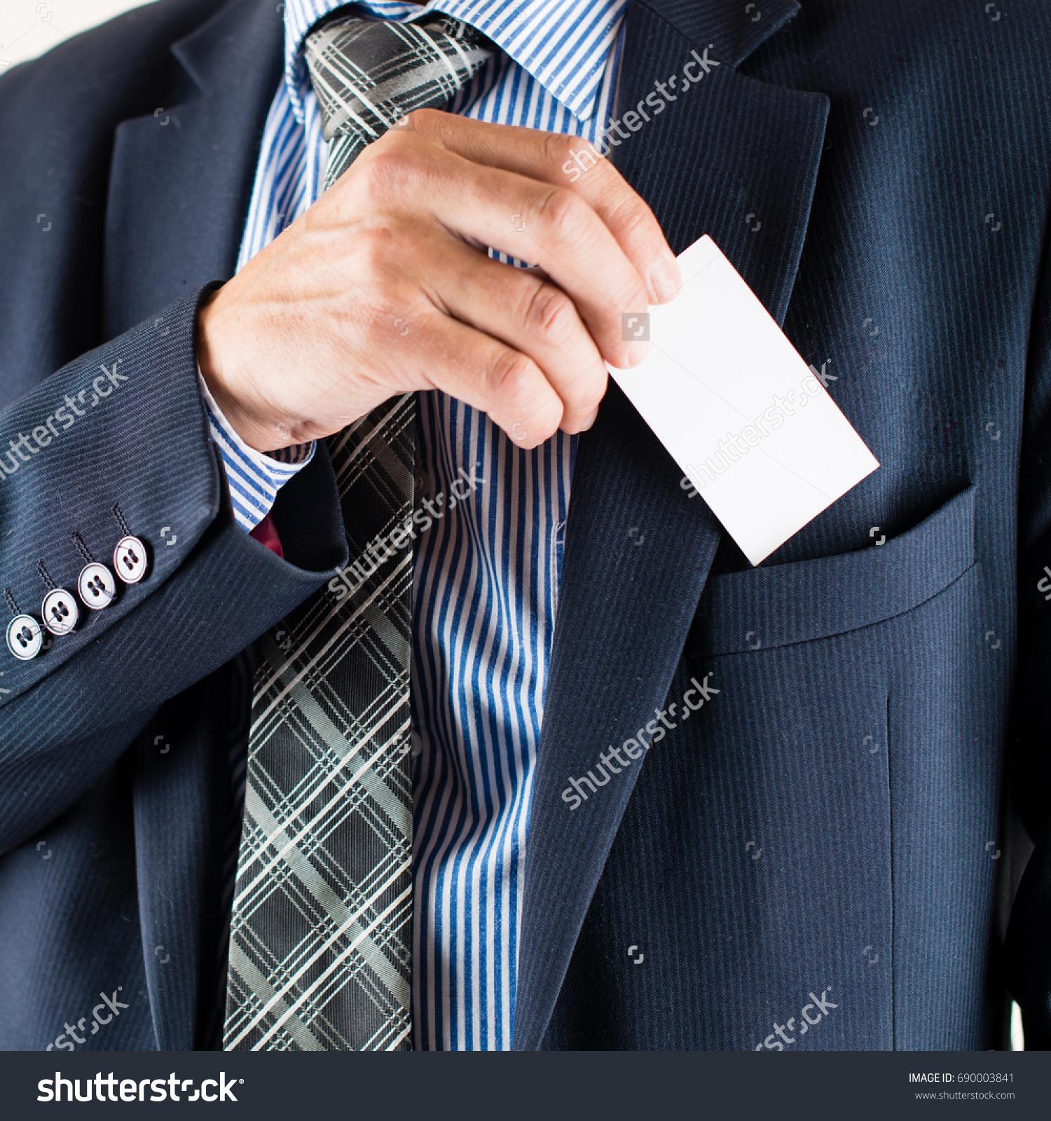 Business Man Putting Business Card Pocket Stock Photo 690003841 ...