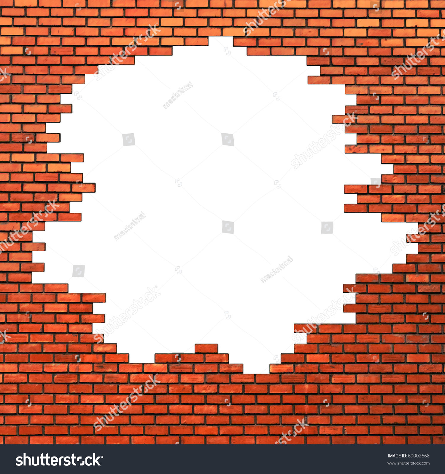 Hole In Brick Wall Stock Photo 69002668 : Shutterstock