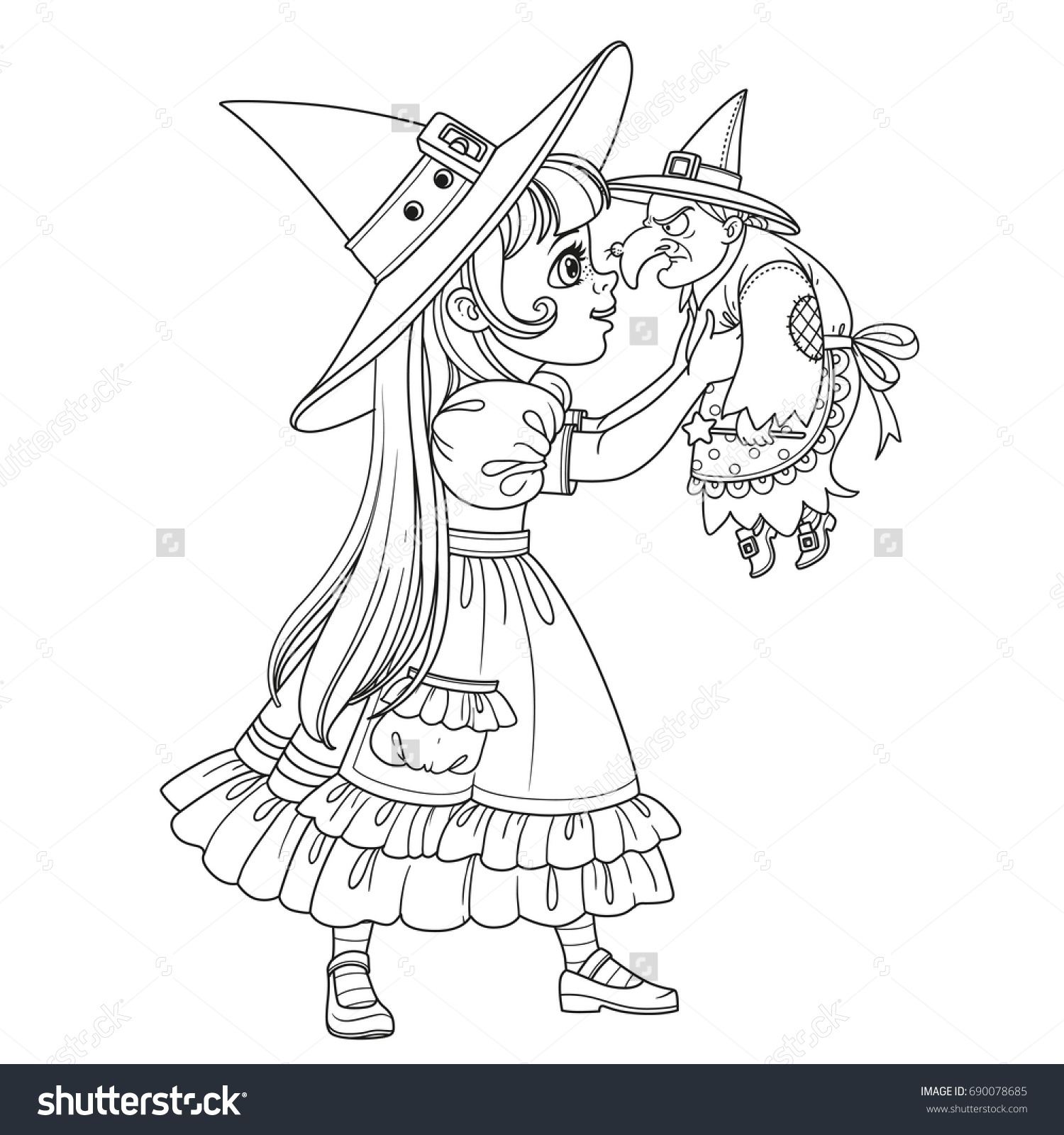 Cute Girl Witch Costume Holding Doll Stock Vector 690078685 ...