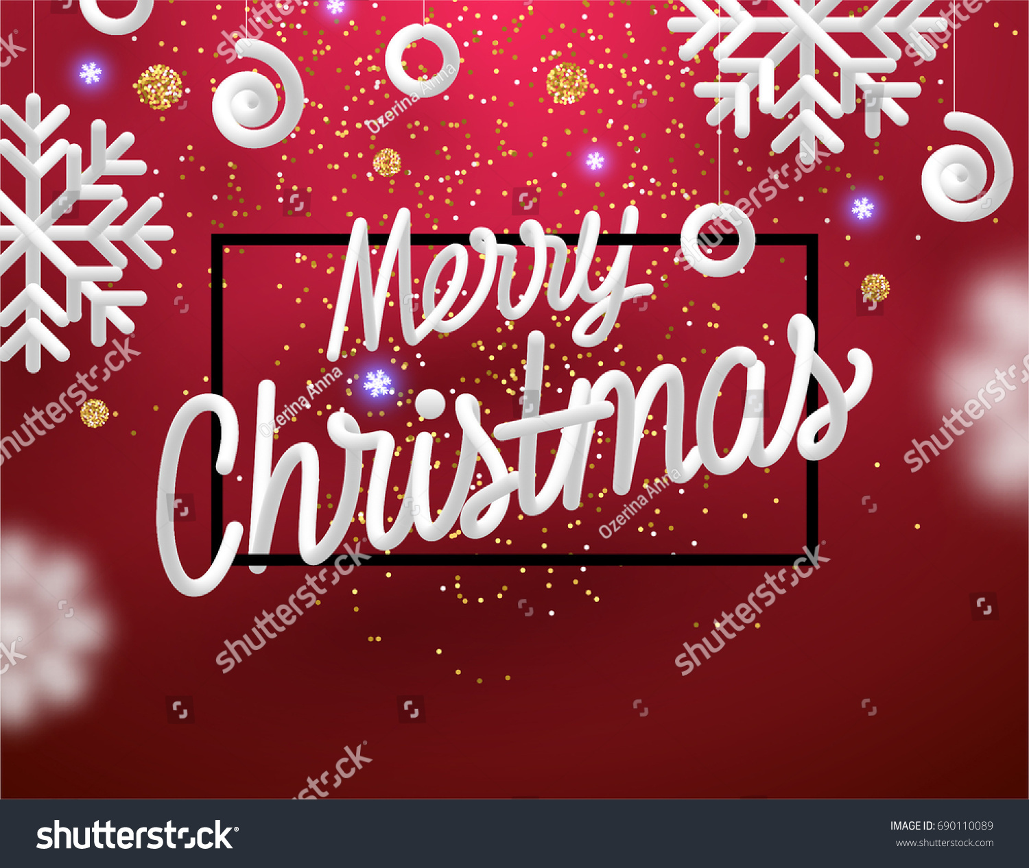 Merry Christmas Greeting Card Holiday Design Stock Vector Royalty