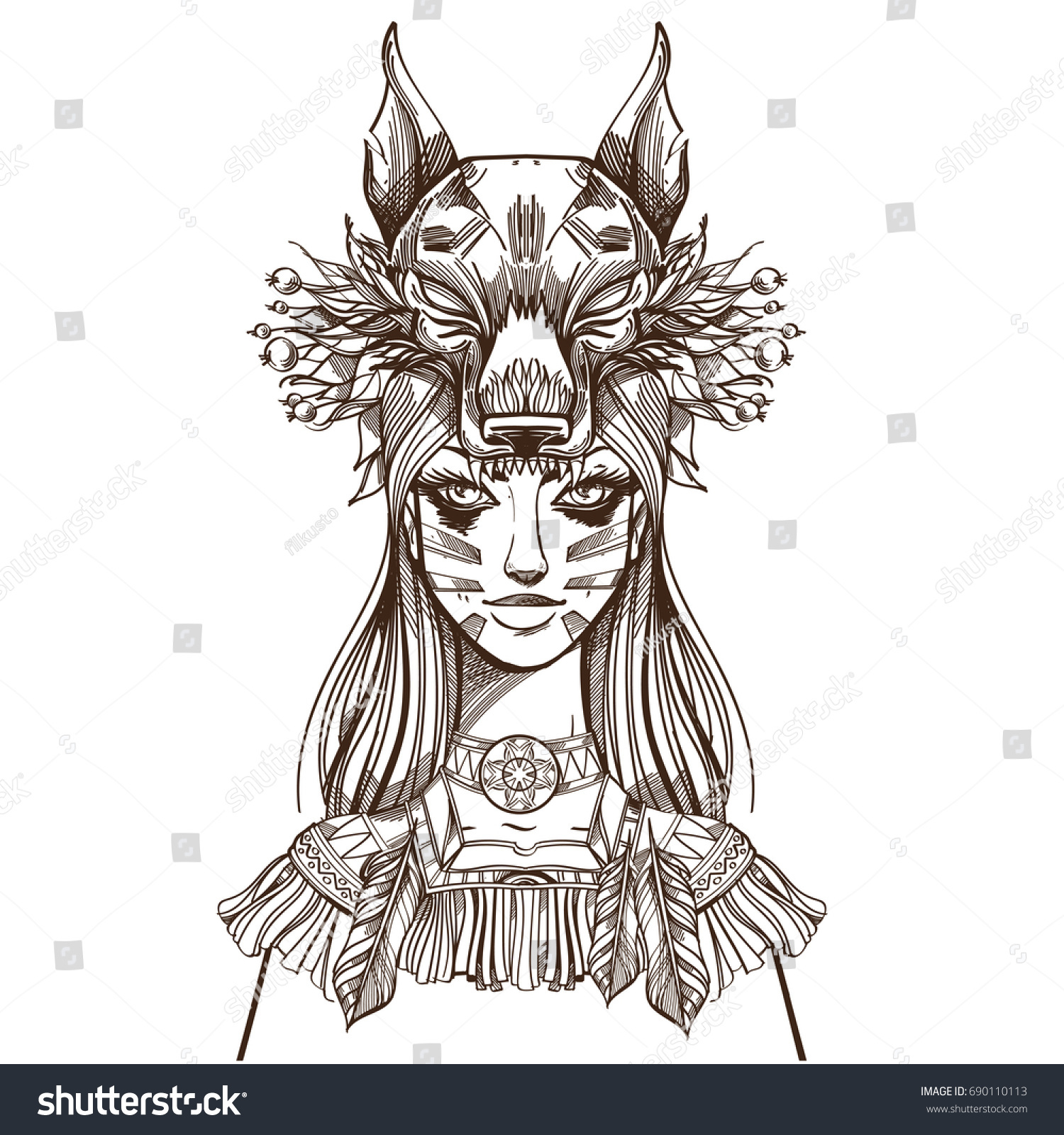 Woman Mask Wolf Beautiful Girl Hat Stock Vector Royalty Free