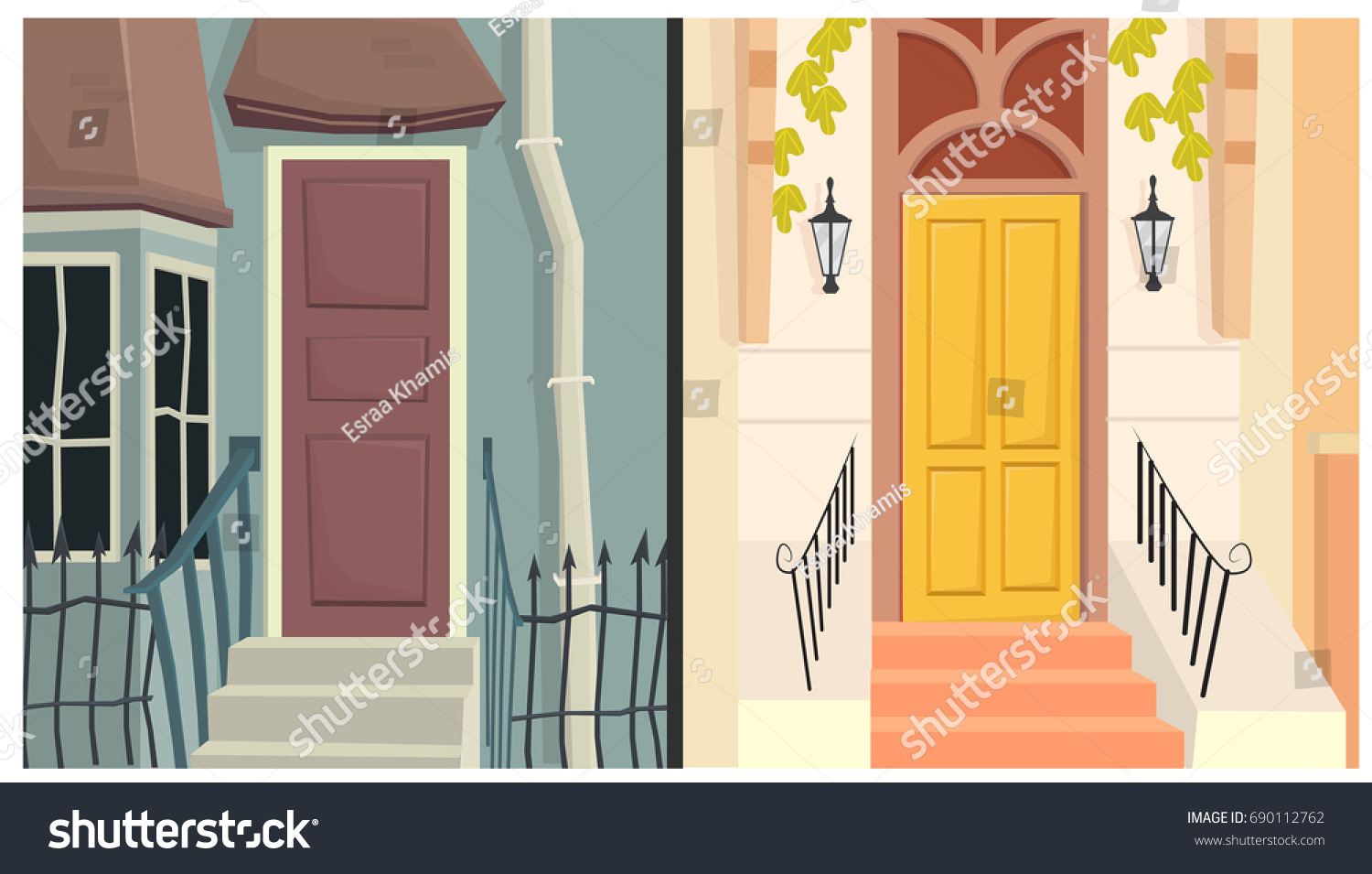 Vector Front Door Exterior Cartoon House Stock Vector Royalty Free
