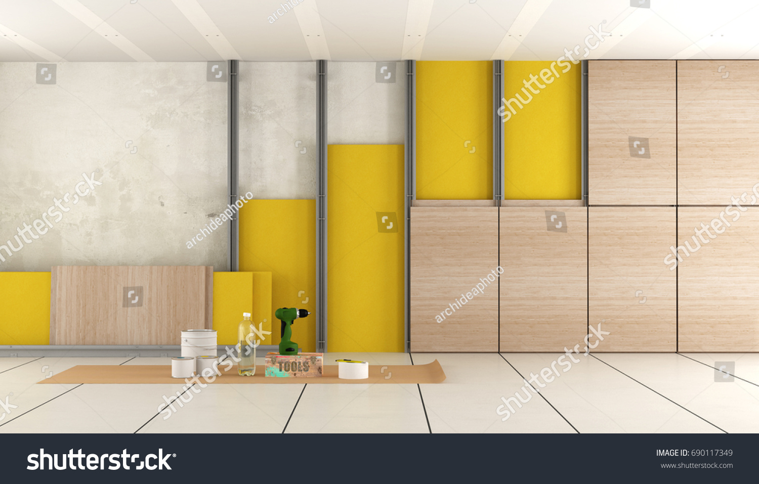 Insulation Old Room Plasterboard Rock Wool Stock Illustration ...