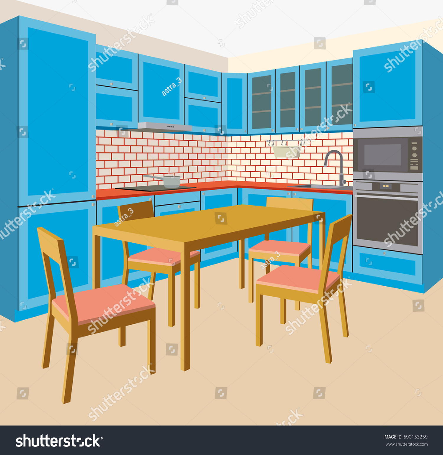 Blue Angular Kitchen With An Oven A Dining Table And Chairs