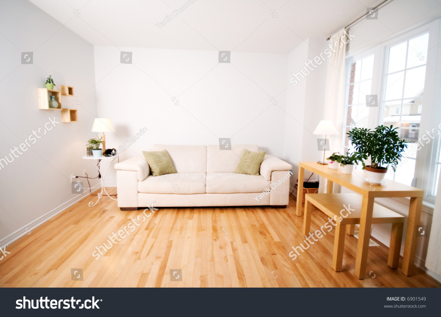 Modern day living room beige couch stock photo 6901549 for Modern day living room