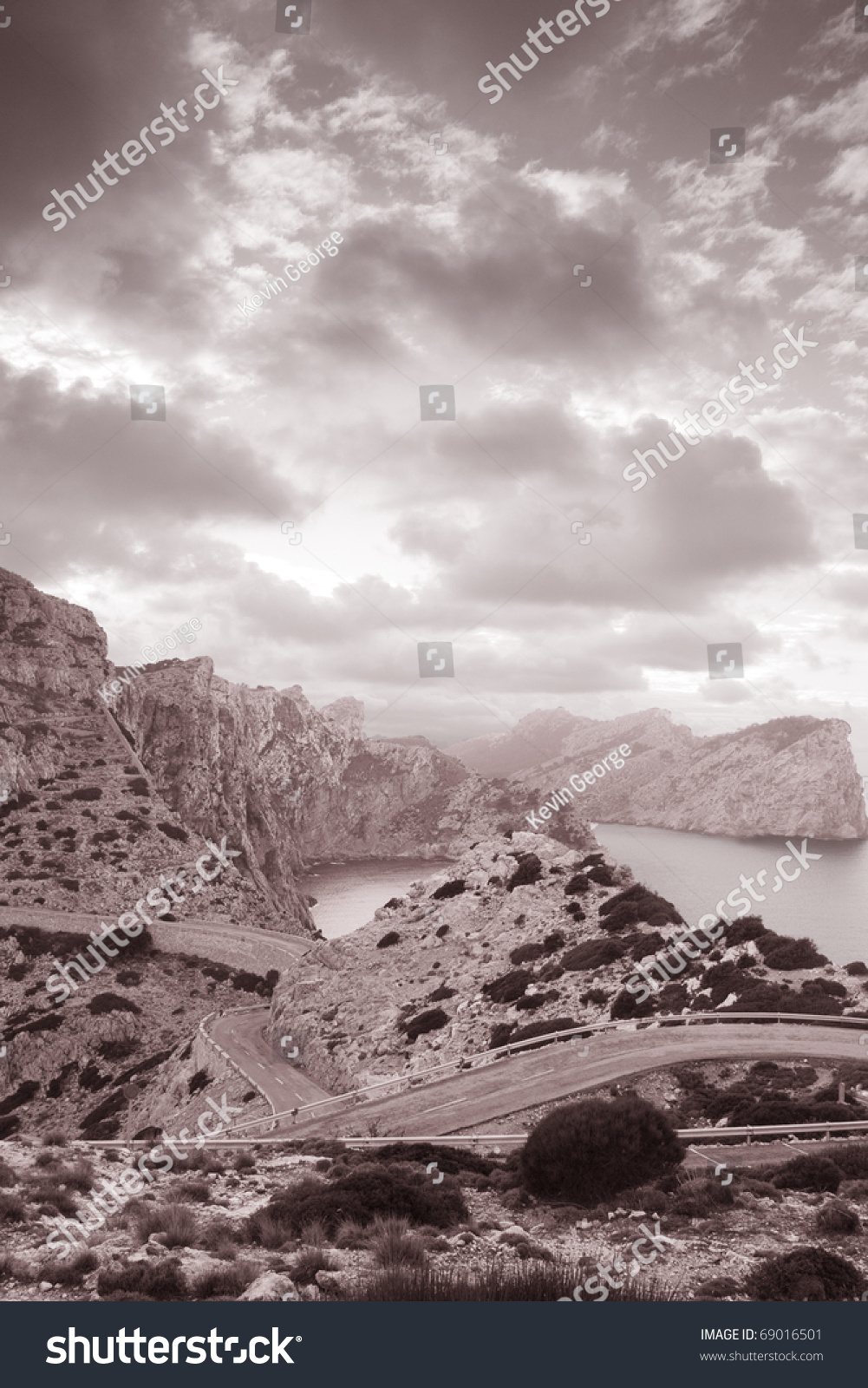 formentor in mallorca spain in black and white sepia tone stock photo 69016501 shutterstock. Black Bedroom Furniture Sets. Home Design Ideas