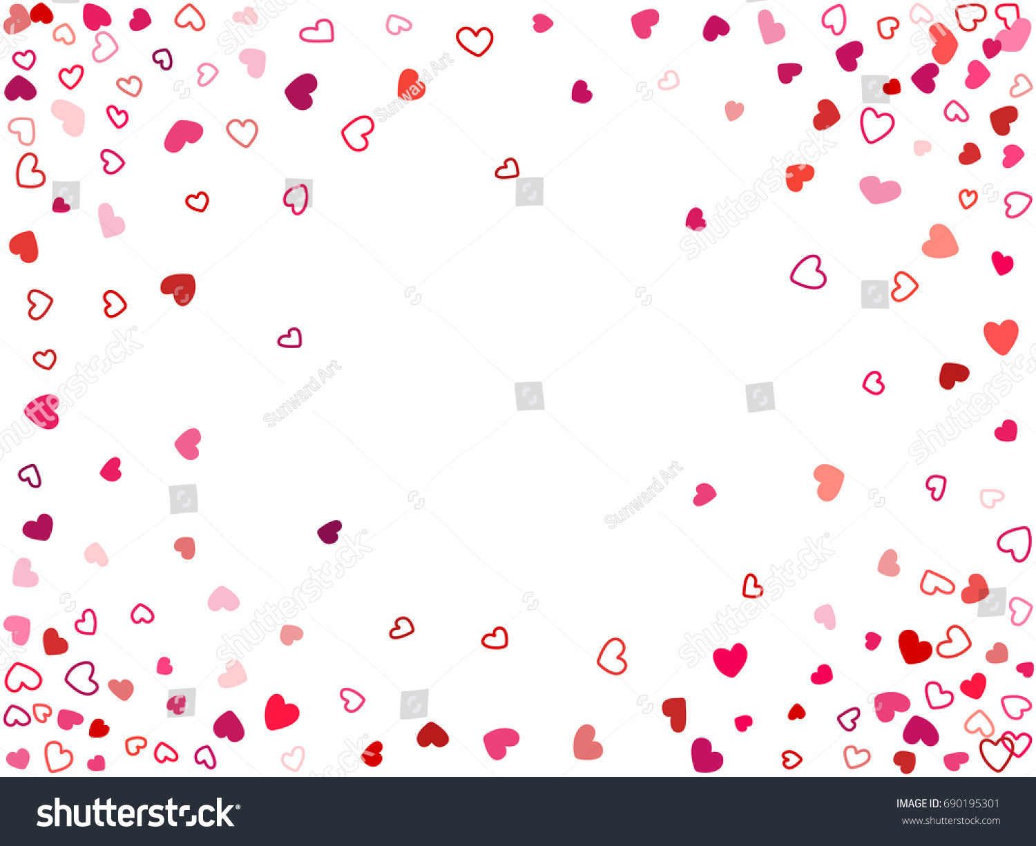 elegant festive wedding background invitation card template vector heart confetti border with place for