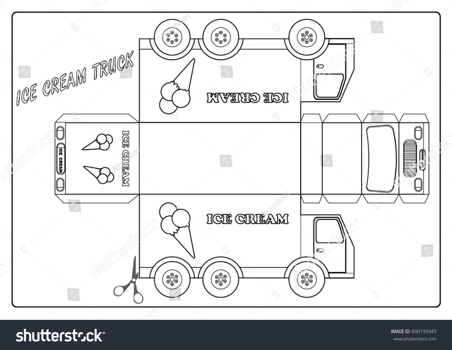 Coloring Page Ice Cream Truck Stock Vector 690195943