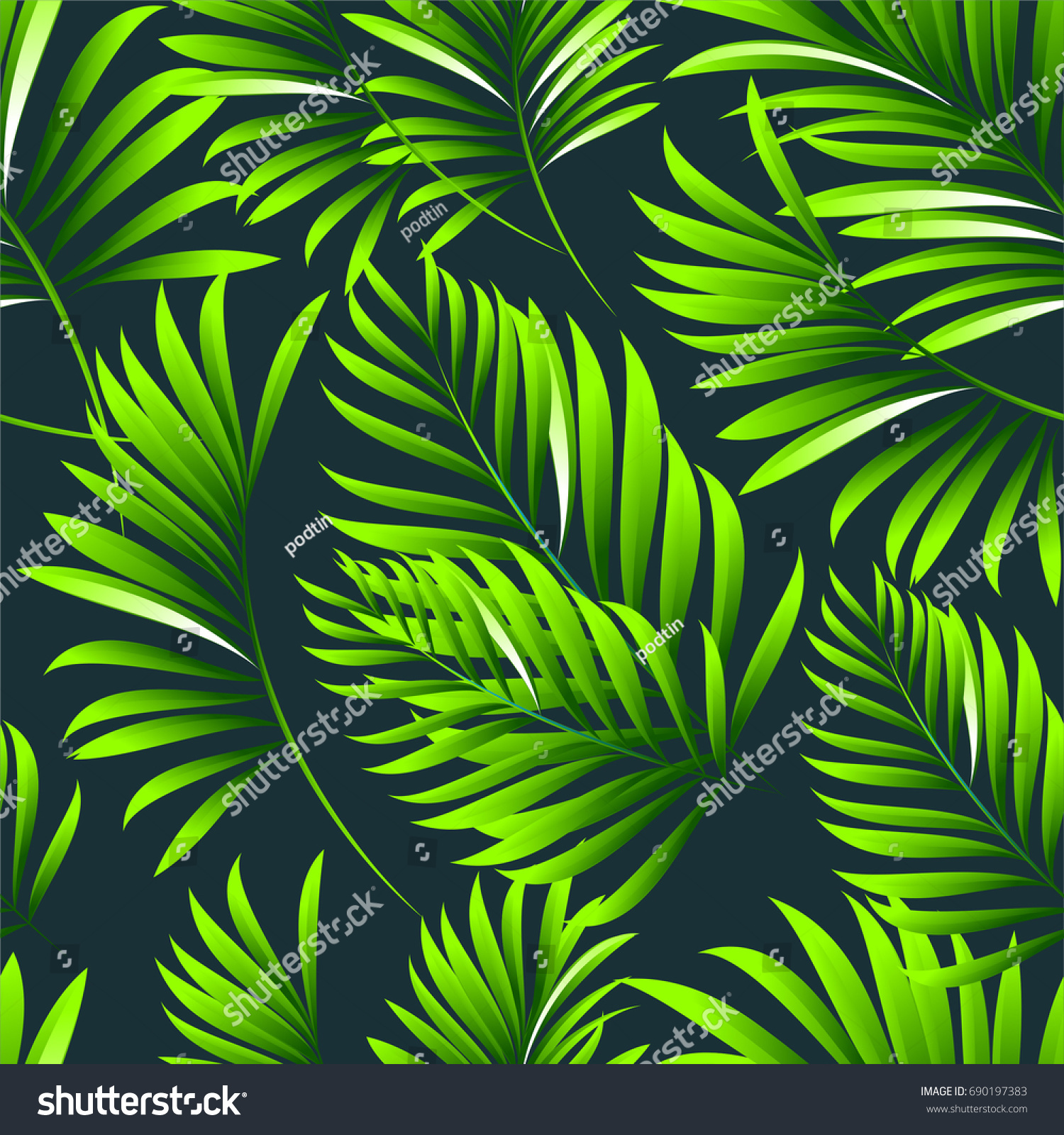 tropical palm leaves jungle leaves vector floral seamless pattern