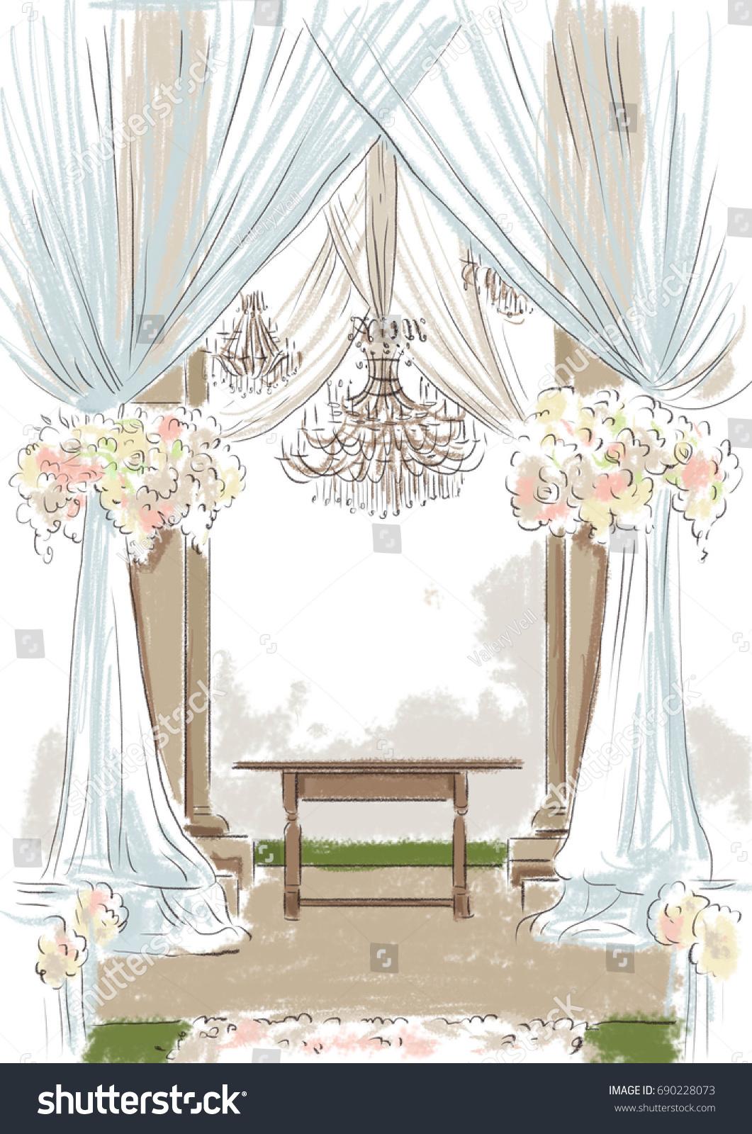 Wedding Decor Altar Sketch Beige Tones Stock Illustration 690228073