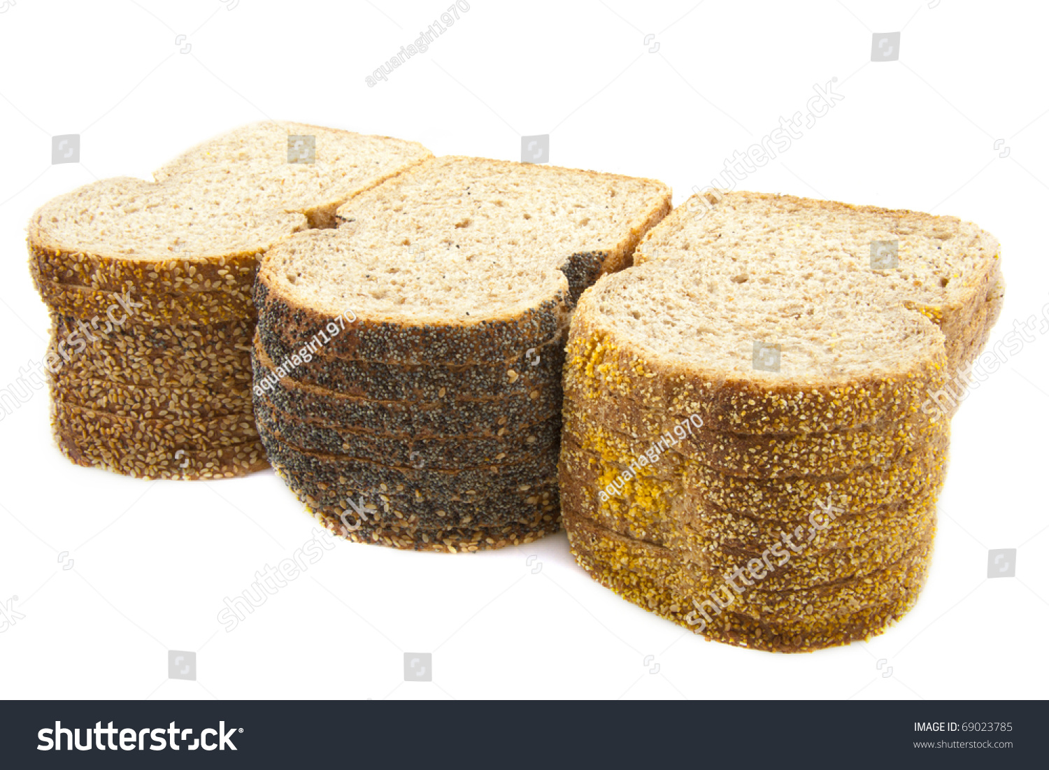 Different Types Brown Bread Isolated Over Stock Photo