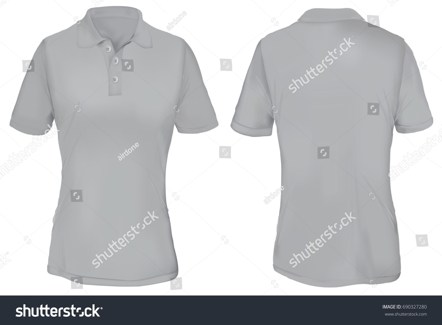 Gray Polo Shirt Template Woman Stock-Vektorgrafik 690327280 ...