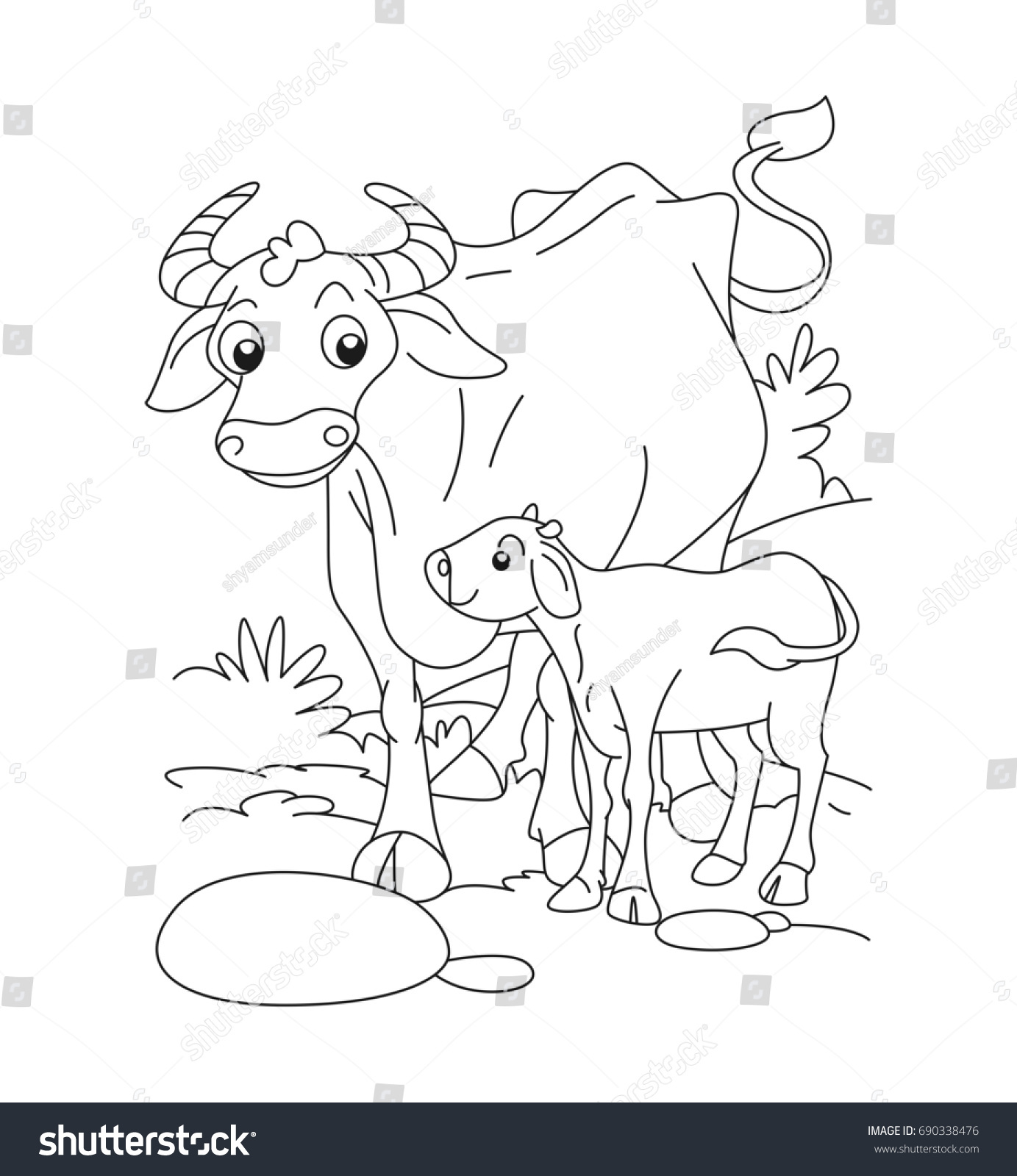 Cow Calf Coloring Page Stock Vector (Royalty Free) 690338476 ...