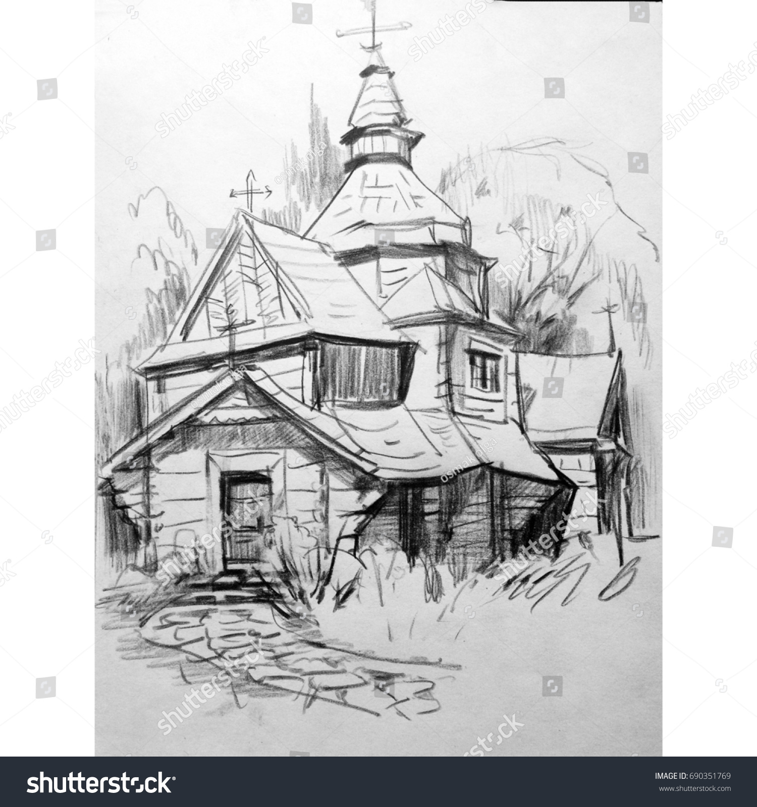 Drawing pencil landscape architecture church art nature old graphic building outline hatching handmade travel tourism romantic