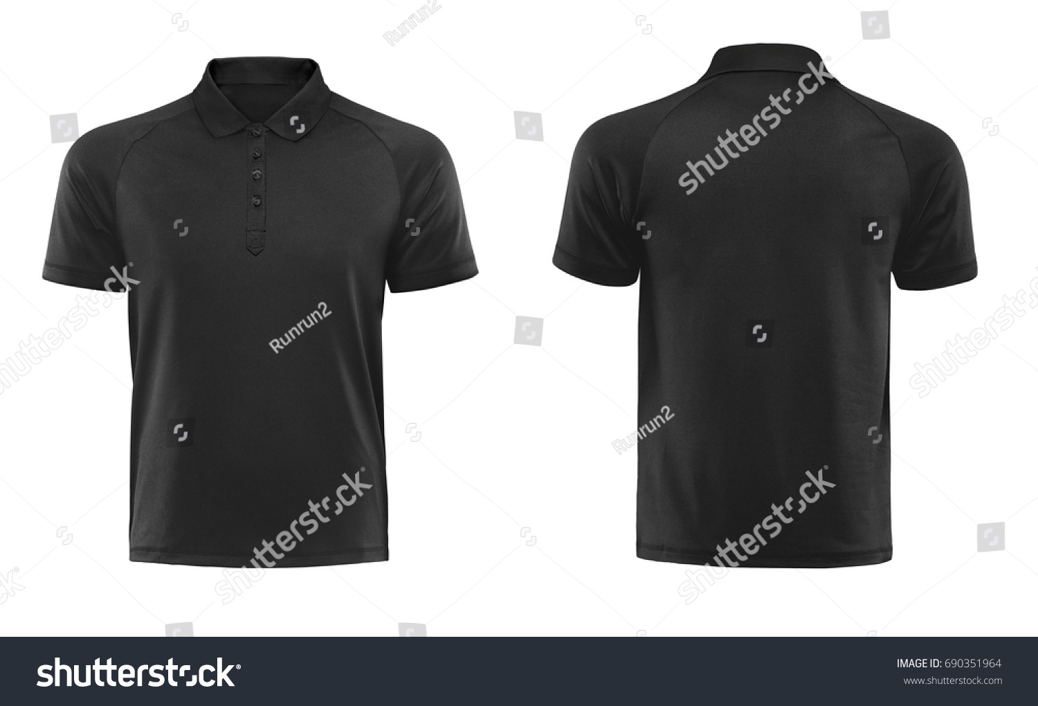 Black Blank Polo T Shirt Template Stock Photo Edit Now 690351964
