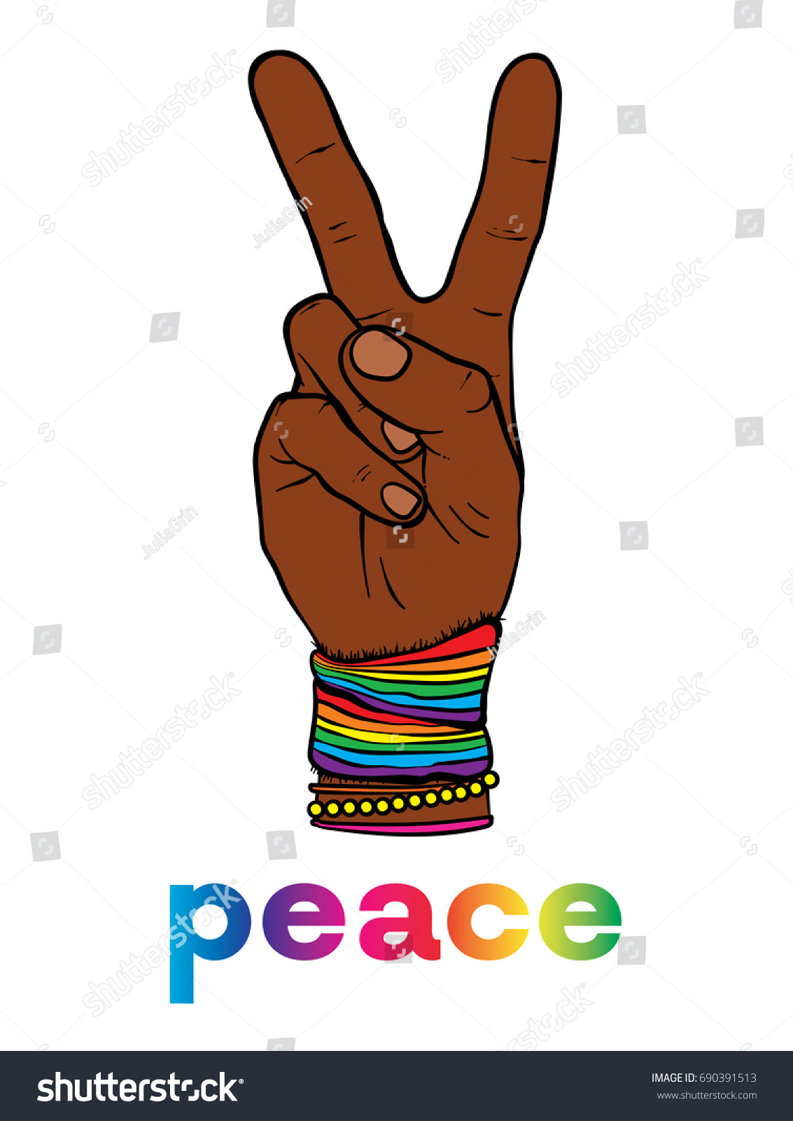 Symbol pacifism hippies hand two fingers stock vector 690391513 the symbol of pacifism and hippies is a hand with two fingers against racism biocorpaavc Images