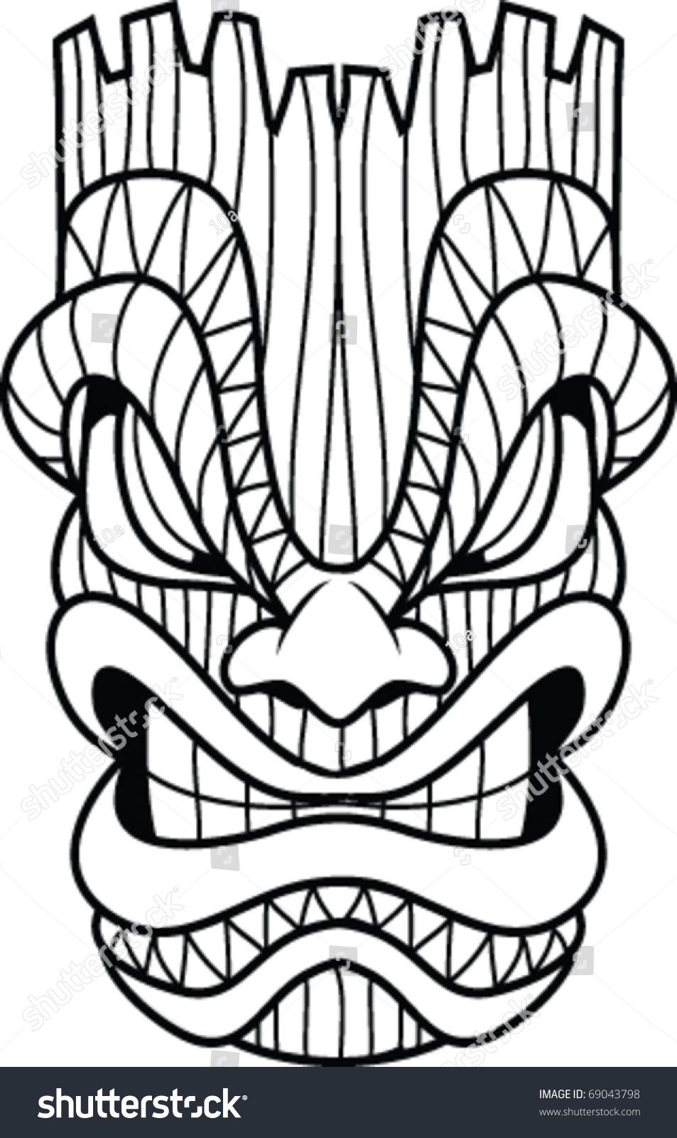 Vector Line Art Tiki Mask Stock Vector 69043798 - Shutterstock