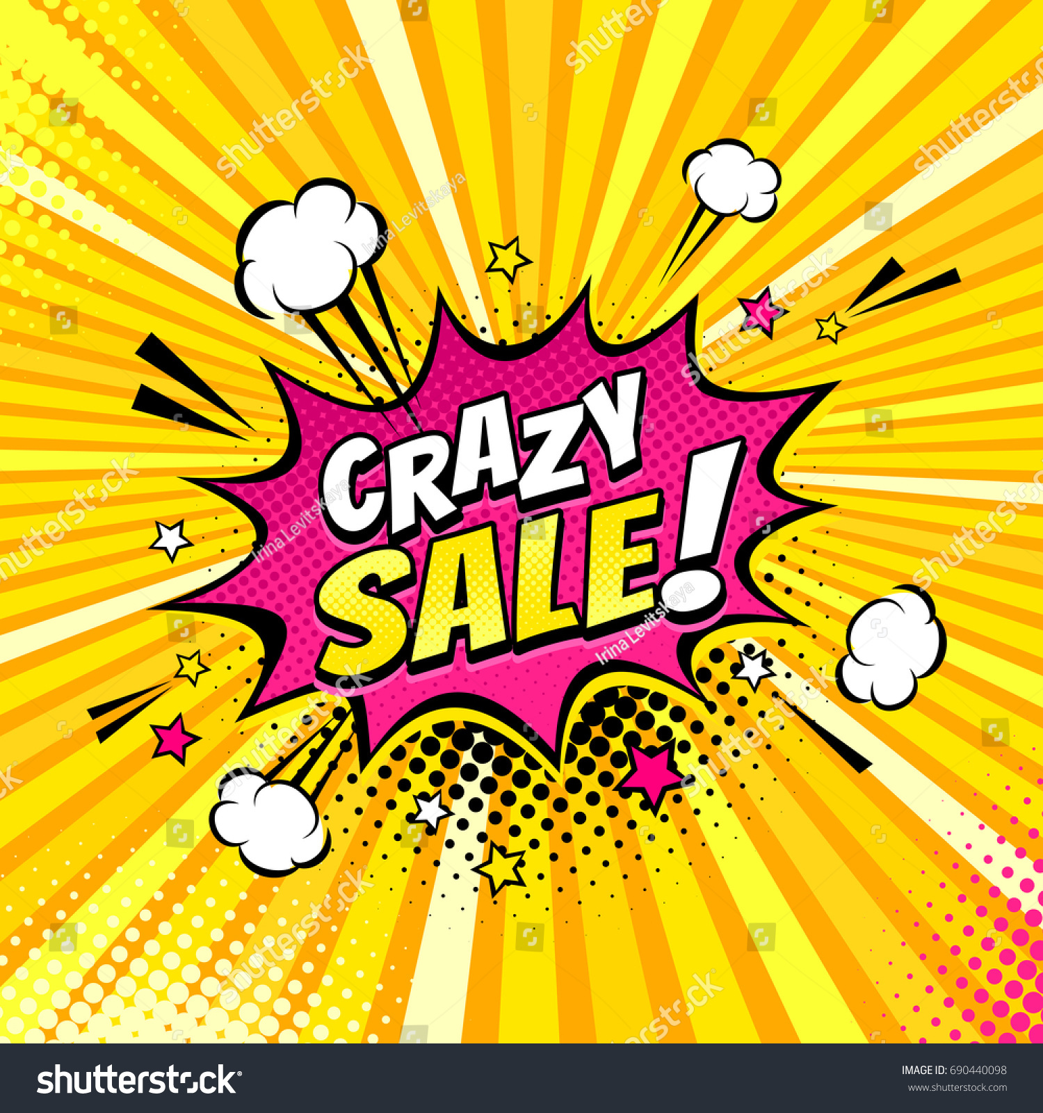 Comic speech bubble expression text crazy stock vector 690440098 comic speech bubble with expression text crazy sale stars and clouds vector bright biocorpaavc
