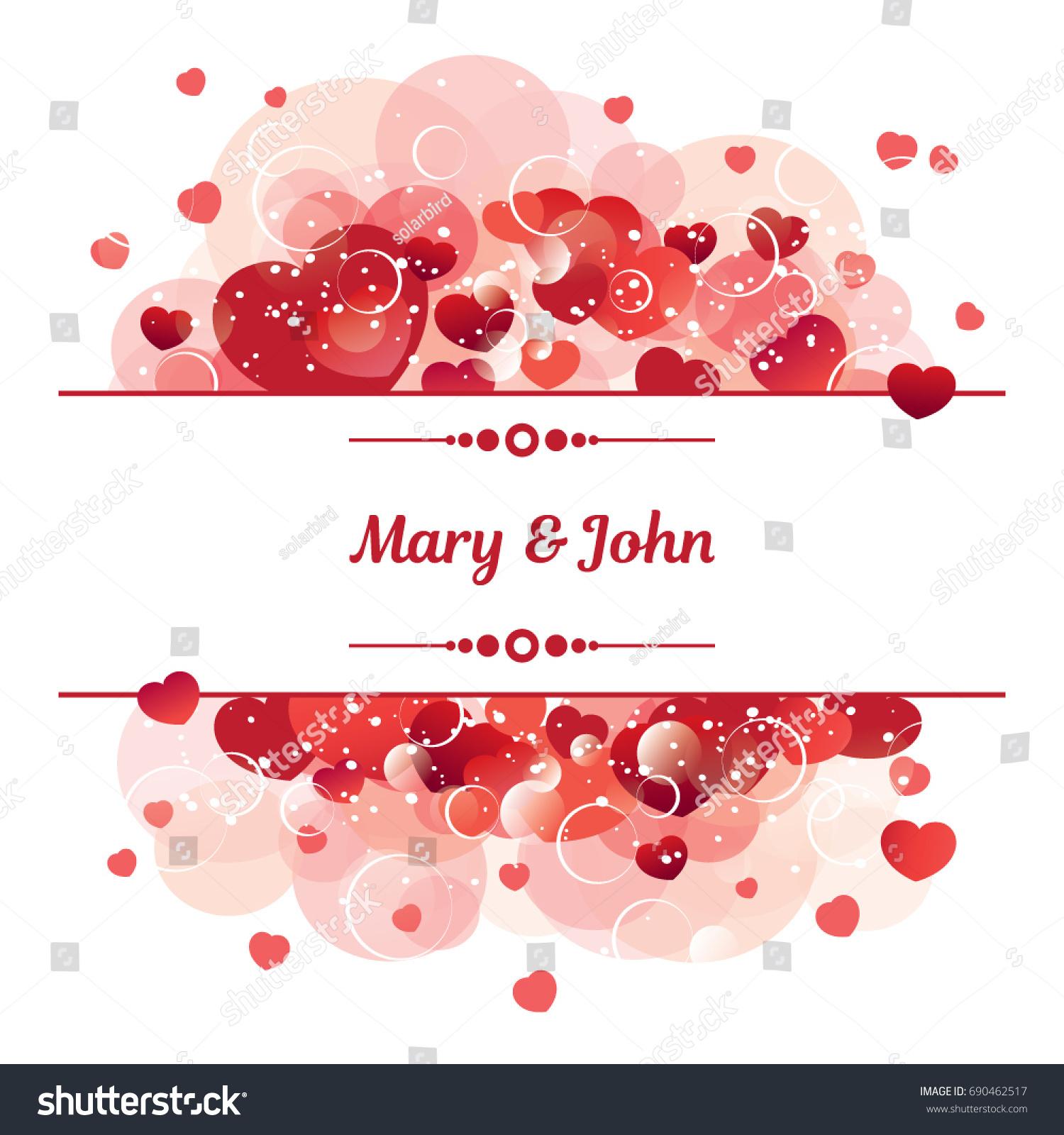Vector Design Wedding Invitation Love Hearts Stock Vector (Royalty ...
