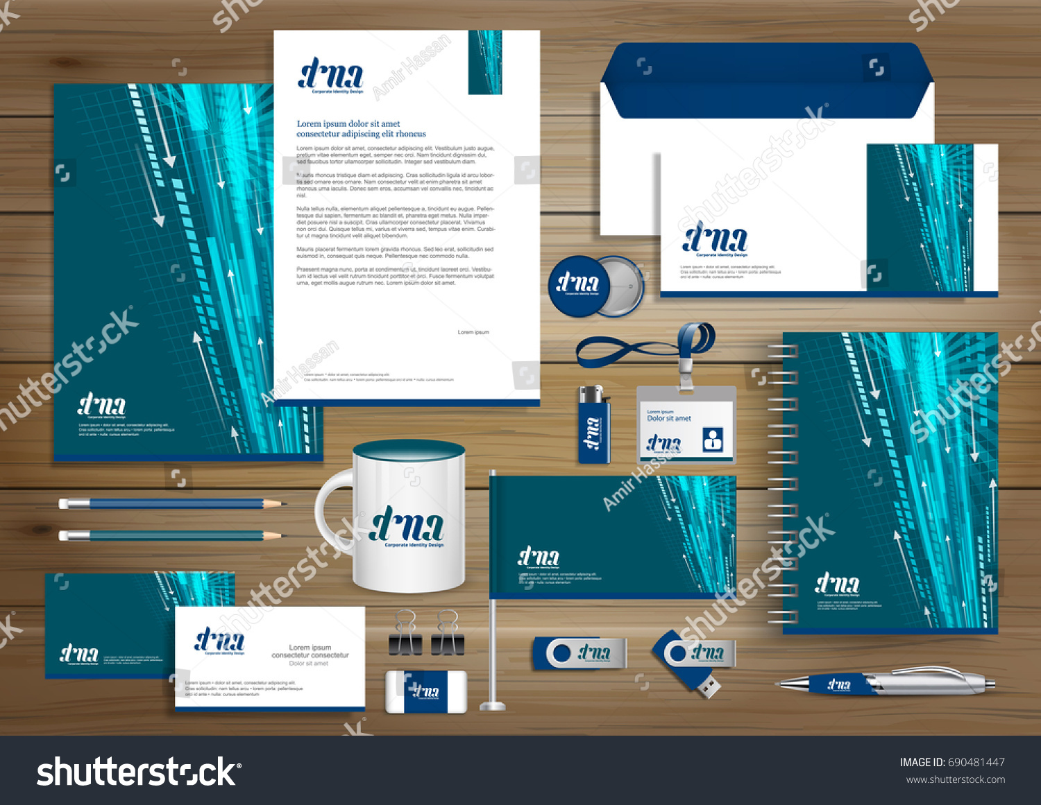 Vector Abstract Stationery Editable Corporate Identity Stock