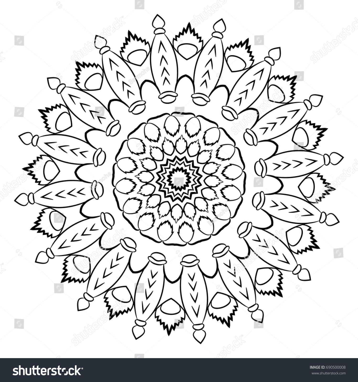 Beautiful Monochrome Mandala Pattern Color Book Stock Vector ...