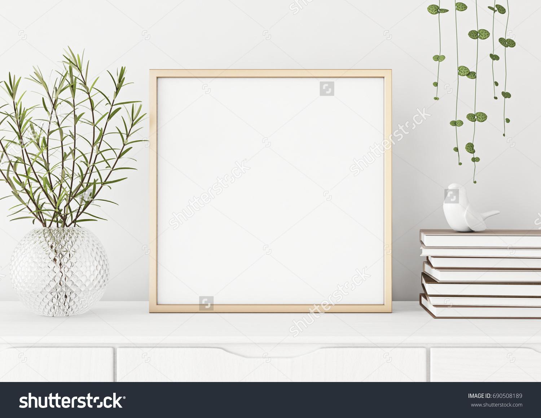 Interior Poster Mock Square Metal Frame Stockillustration 690508189 ...