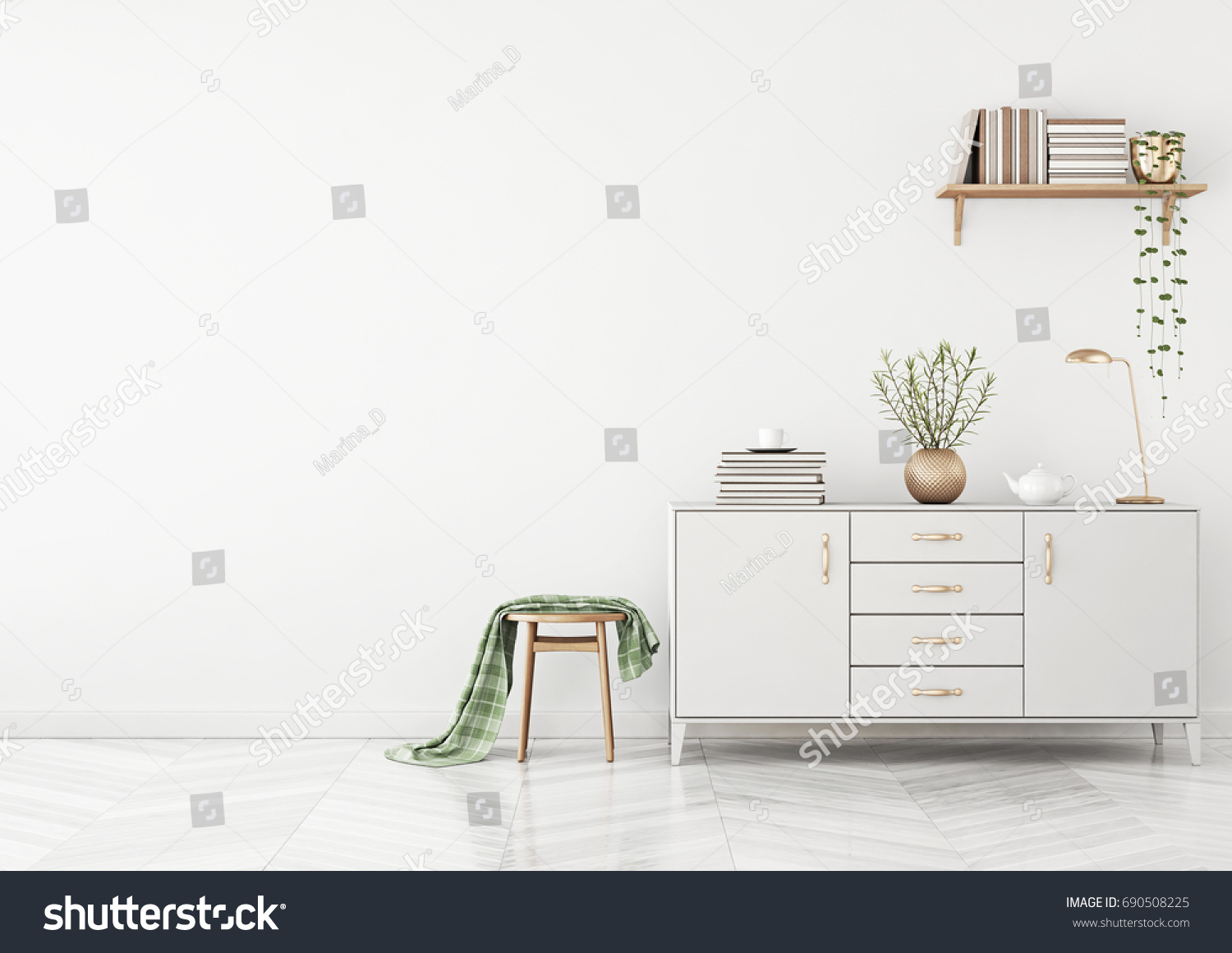 Clean Living Room Interior Chest Drawers Stock Illustration ...