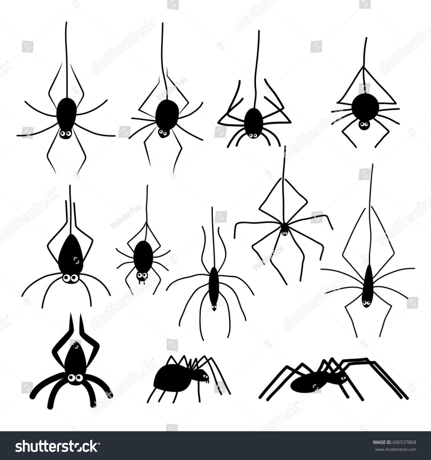 halloween spiders black silhouettes cartoon funny stock vector