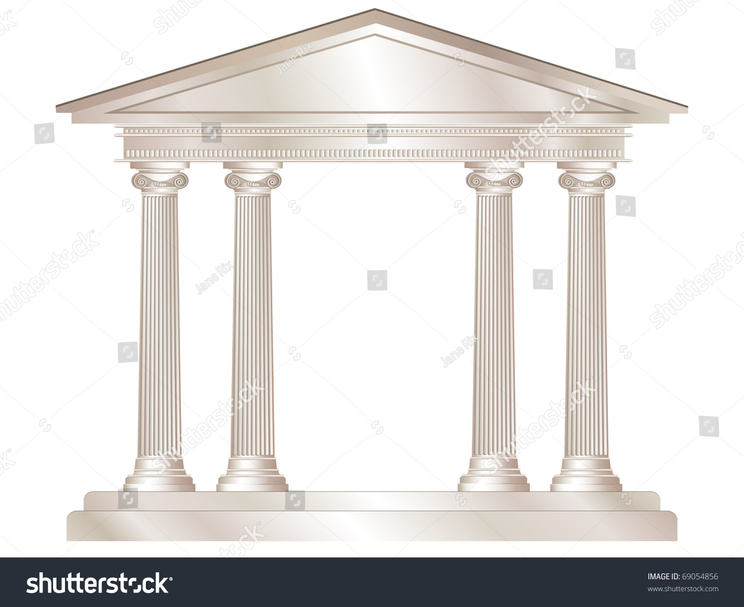 Illustration Classical Style White Marble Temple Stock Illustration ...