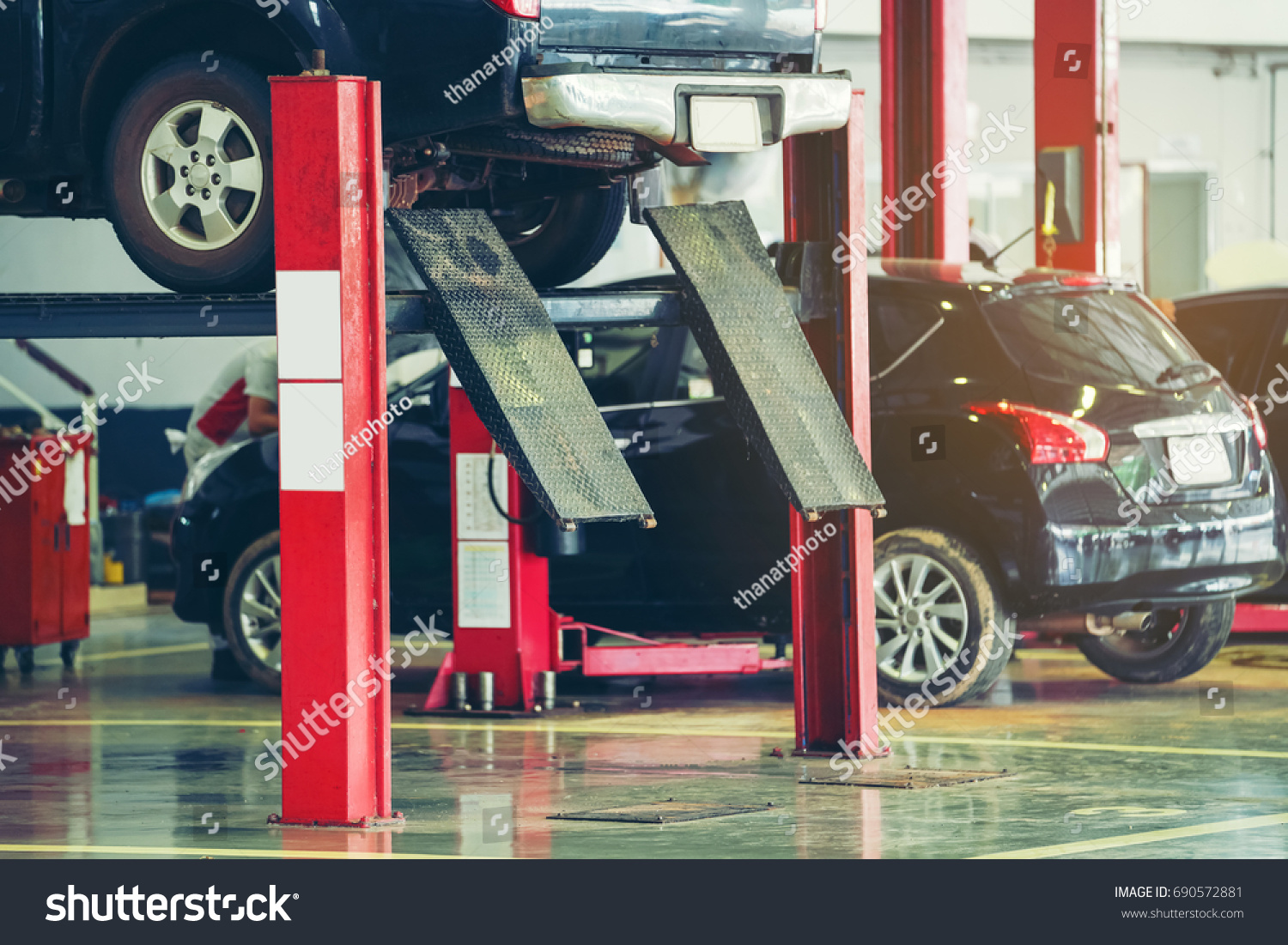 Car Care Center >> Interior Carcare Center Electric Lift Cars Stock Photo Edit