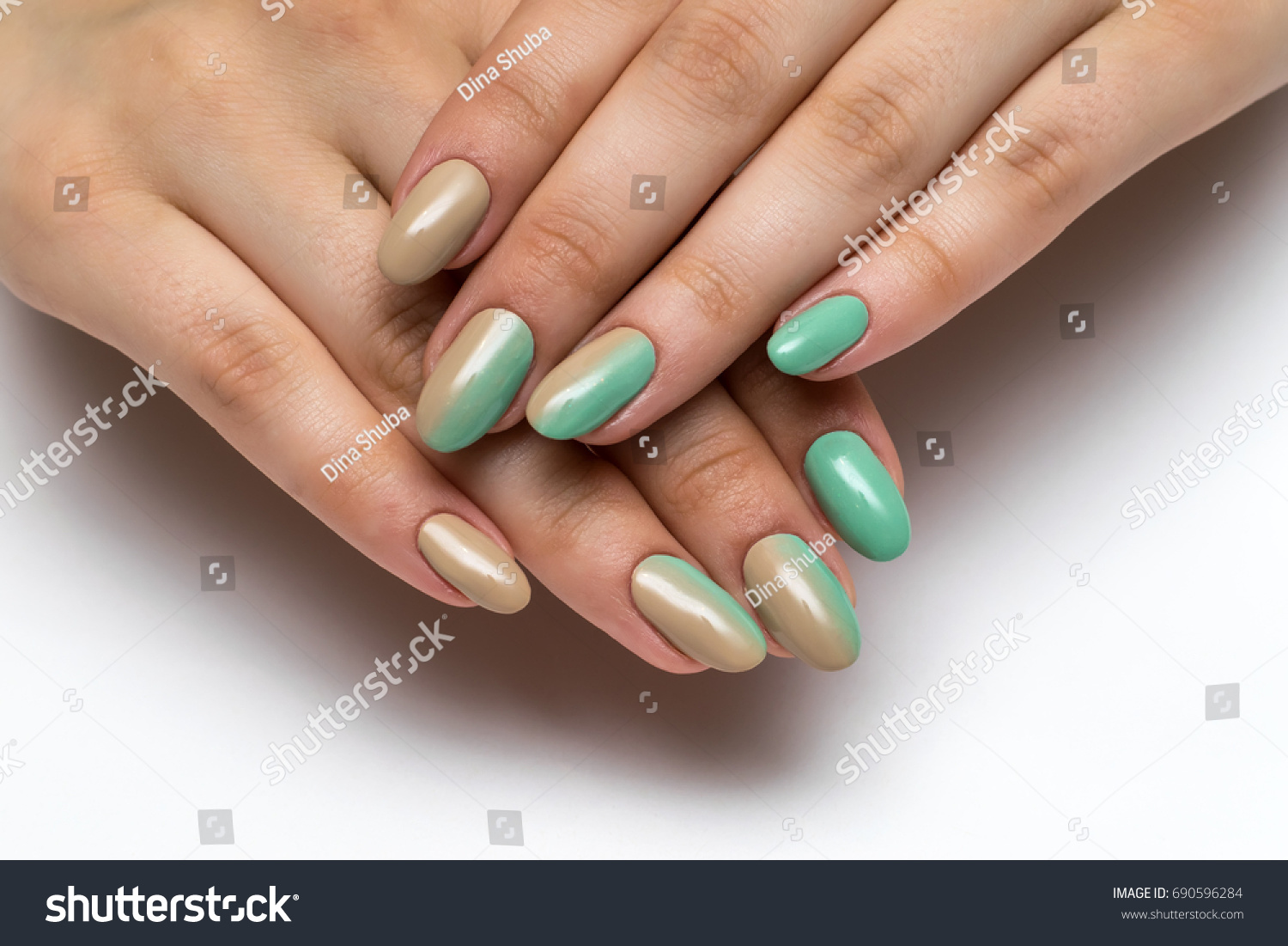 Beige Minty Green Ombre Manicure On Stock Photo (Royalty Free ...