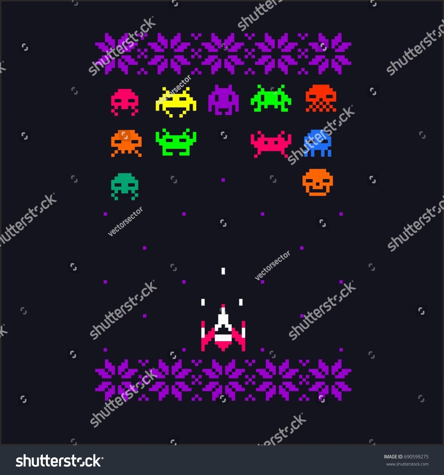 video game 8 bit space aliens stock vector 690599275 shutterstock
