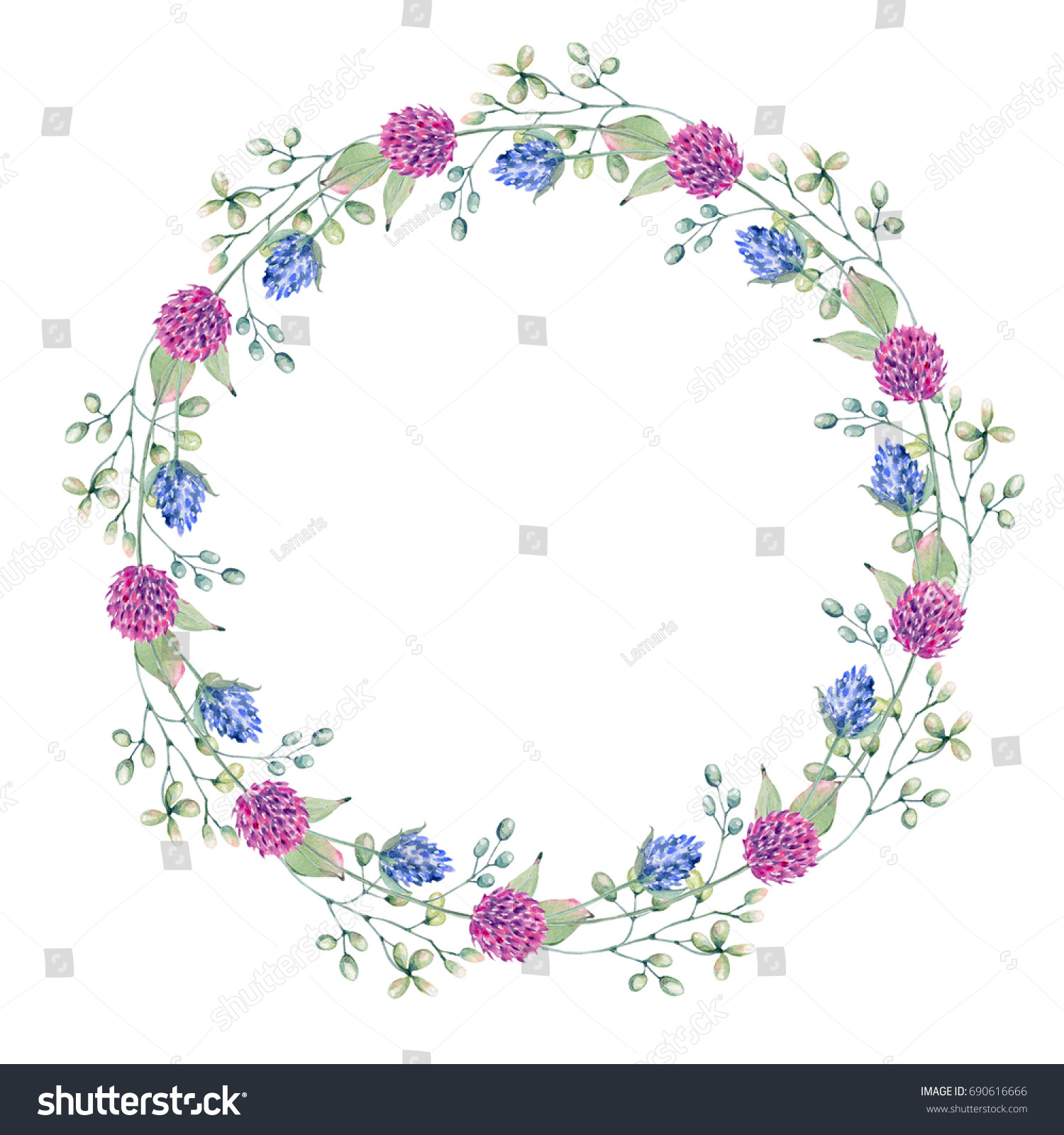 Watercolor Flower Circle Frame Perfect Invitation Stock Illustration