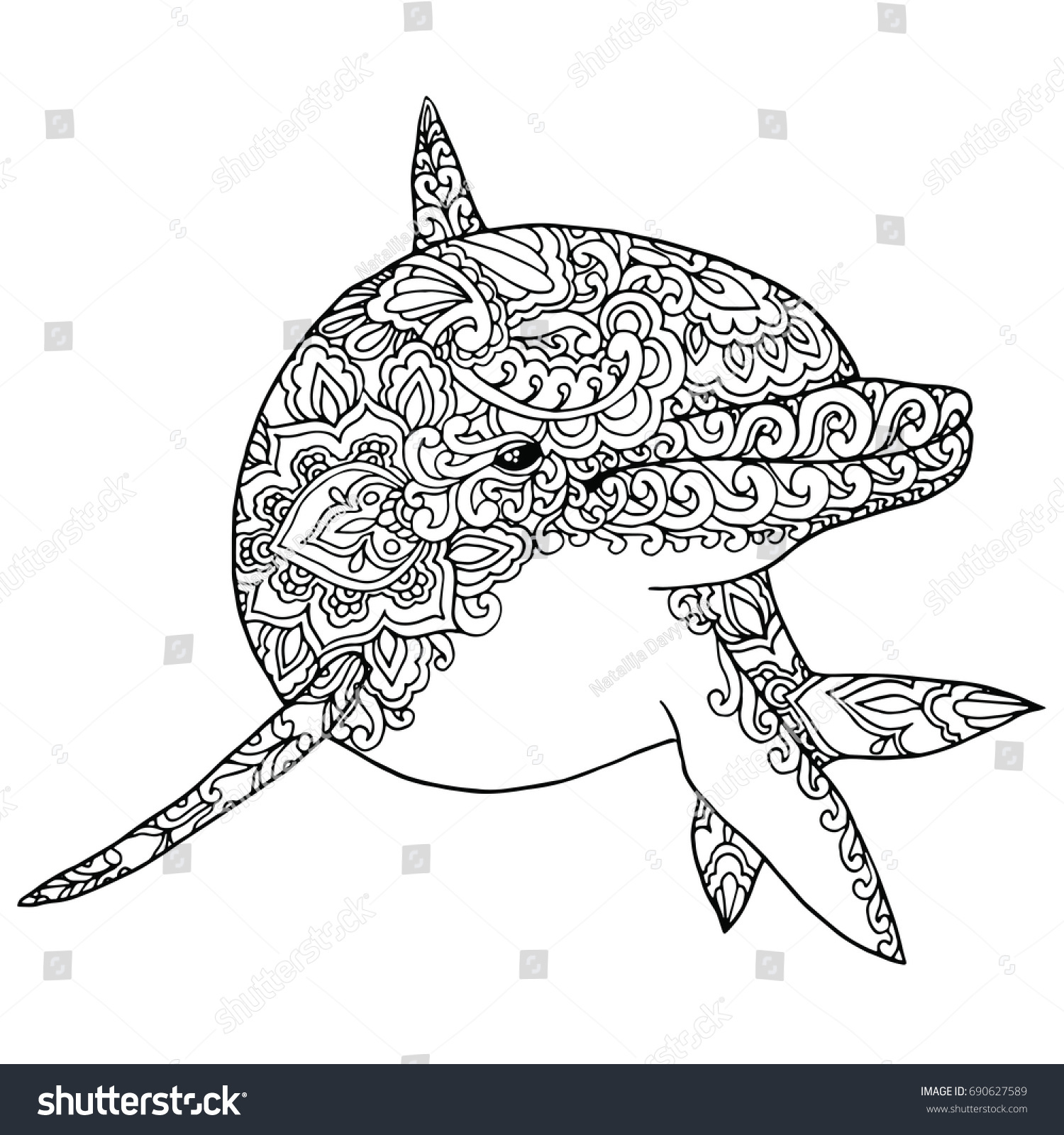 Abstract Dolphin Coloring Pages : Zentangle doodle patterned fantasy dolphin isolated stock