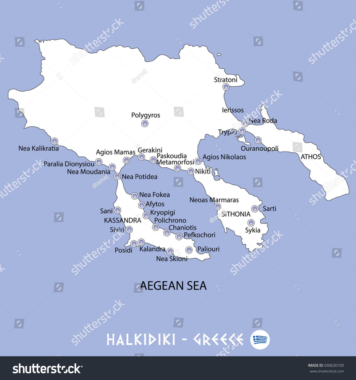 Peninsula Halkidiki Greece White Map Blue Stock Vector (Royalty Free ...