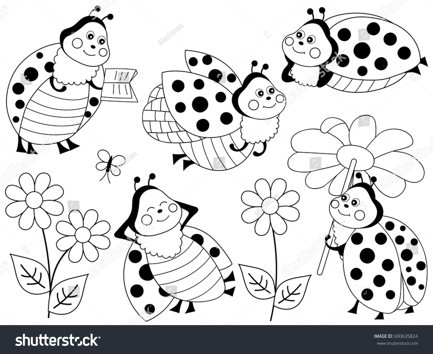 Vector Set Black White Cartoon Ladybugs Stock Vector Royalty Free