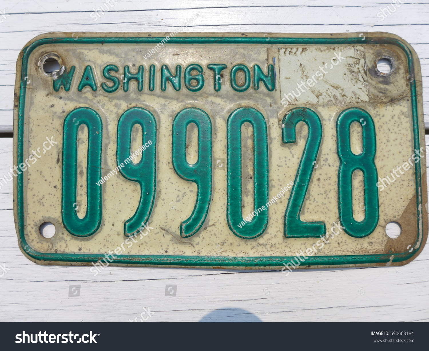 Washington State Vintage Motorcycle License Plate Stock Photo ...