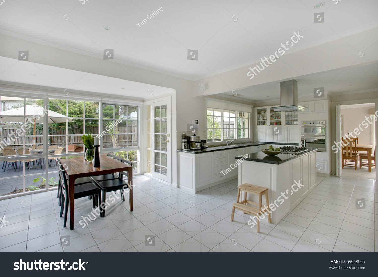 Dining Room And Kitchen Combined A Modern Combined Kitchen And Dining Room Stock Photo 69068005